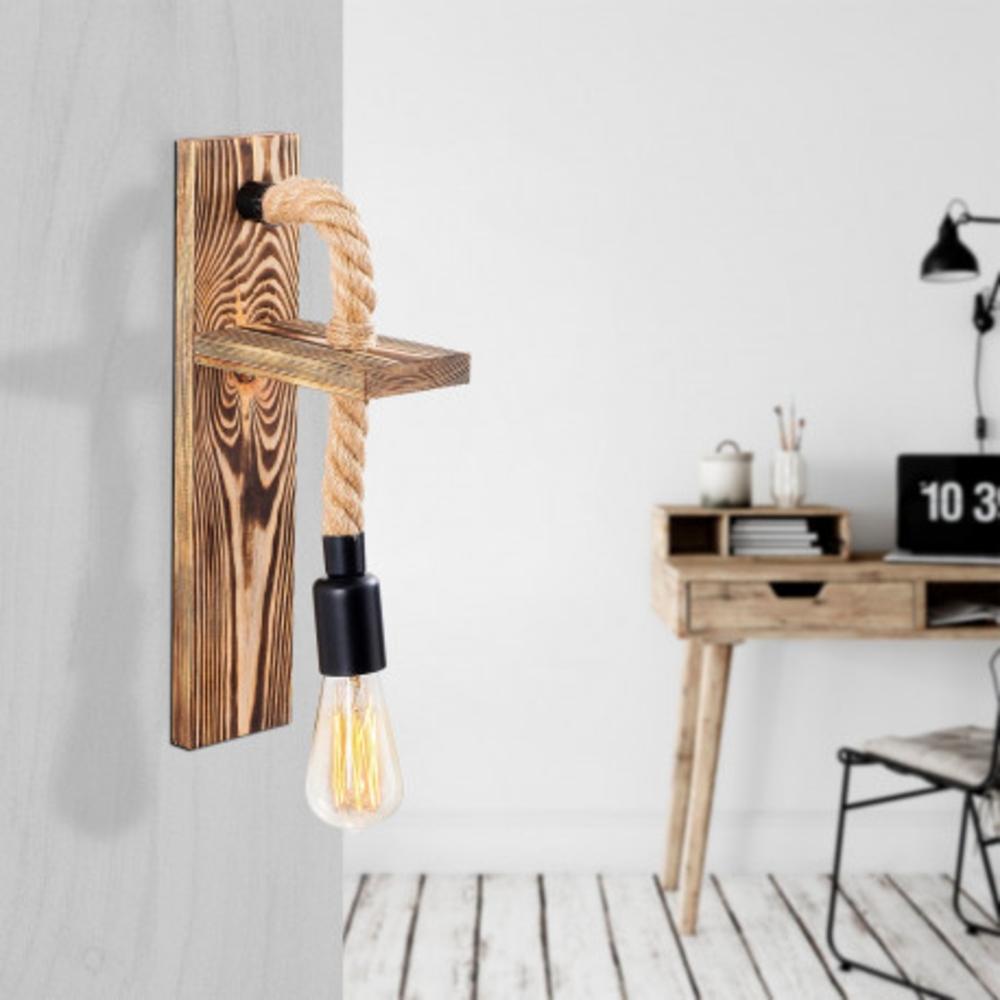 LED landelijke wandlamp touw hout zwarte E27 fitting - sfeerfoto inrichting