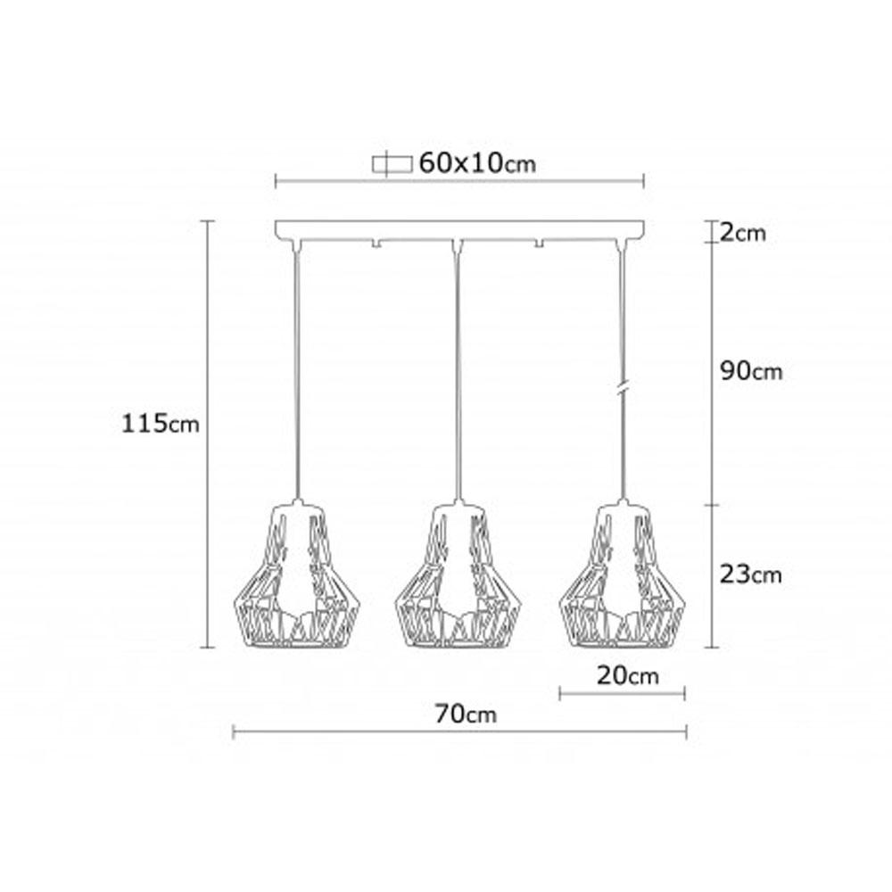 hanglamp modern 3 x E27 fitting zwart metaal - afmetingen
