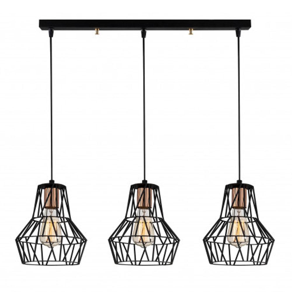 hanglamp modern 3 x E27 fitting zwart metaal - vooraanzicht lamp aan