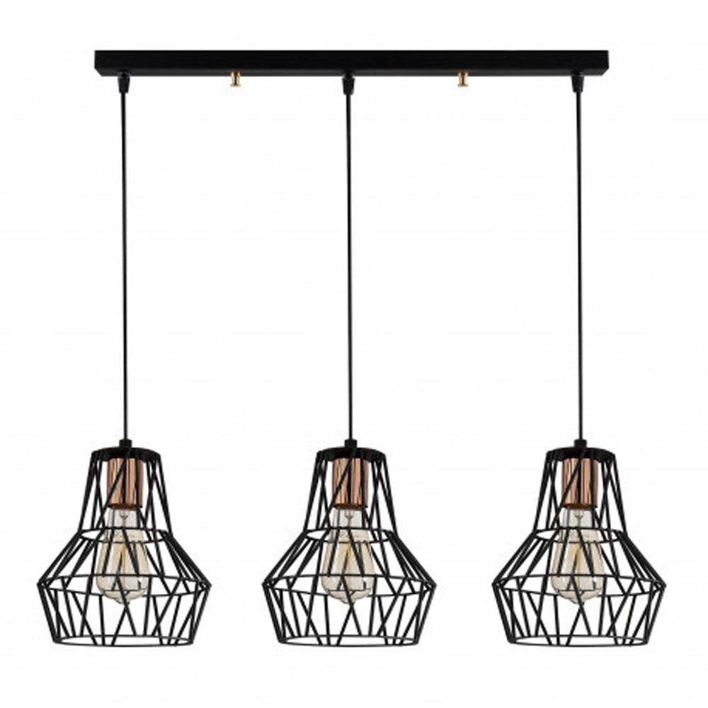 hanglamp modern 3 x E27 fitting zwart metaal - vooraanzicht lamp uit