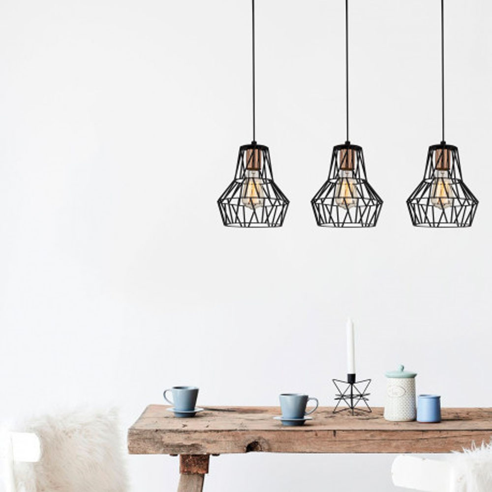 hanglamp modern 3 x E27 fitting zwart metaal - sfeerfoto