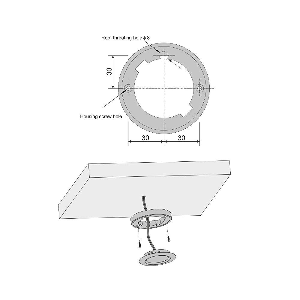 LED opbouw/inbouw spot dimbaar chroom 2700K warm wit - montage