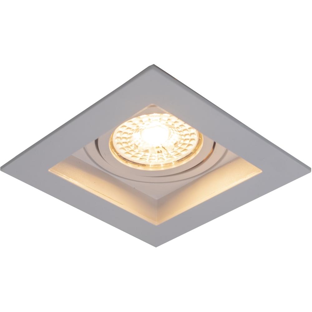 LED inbouw spot - vierkant - wit - 95x95mm - kantelbaar - dimbaar - modern - GU10 - warm wit - zijaanzicht