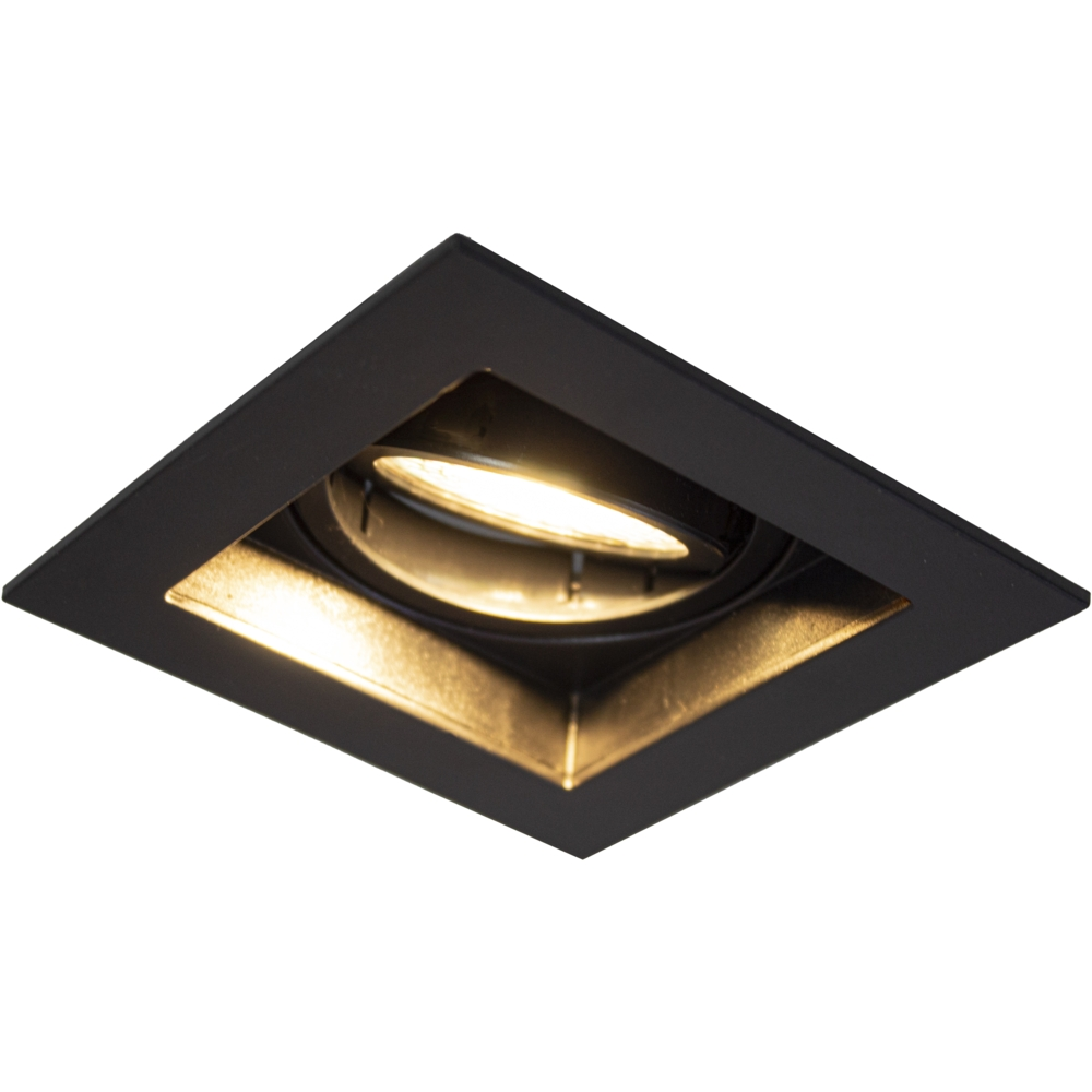 LED inbouw spot - vierkant - zwart - 95x95mm - dimbaar - modern - GU10 - warm wit - zijaanzicht gekanteld