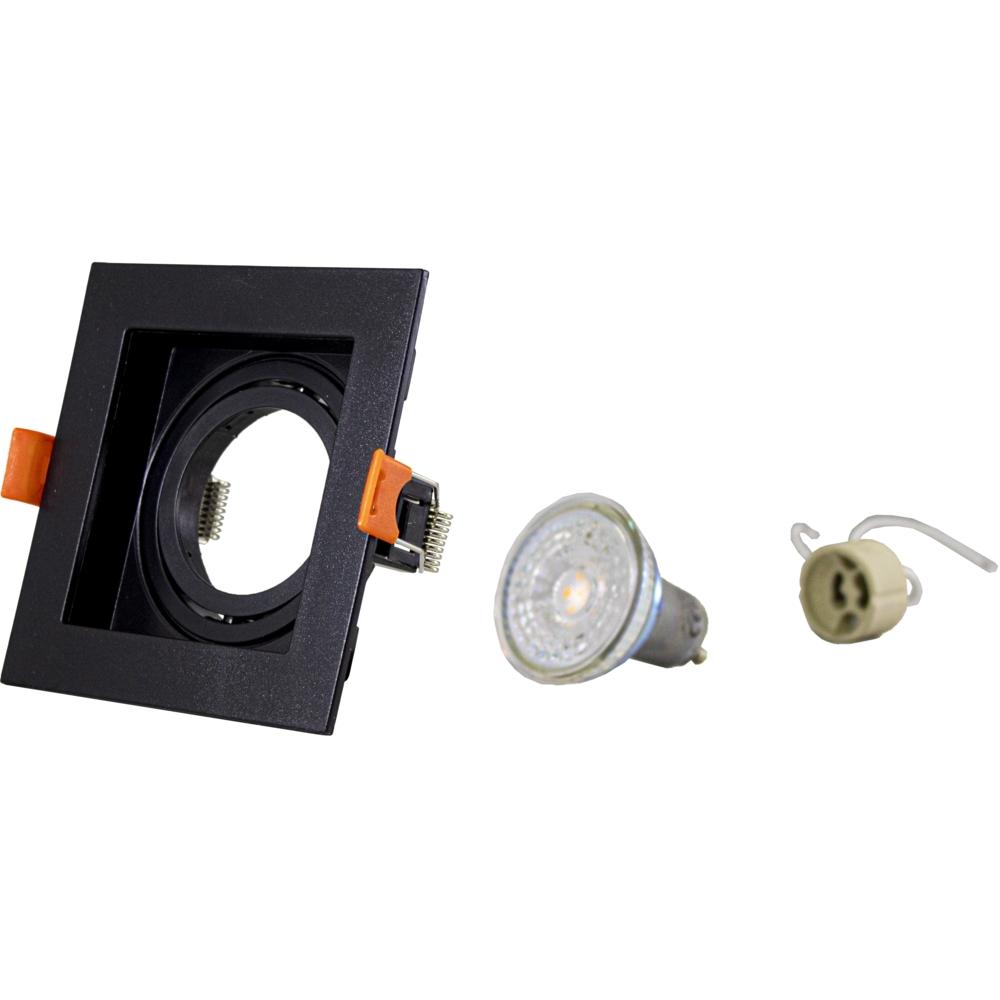 LED inbouw spot - vierkant - zwart - 95x95mm - kantelbaar - dimbaar - modern - GU10 - complete spot onderdelen
