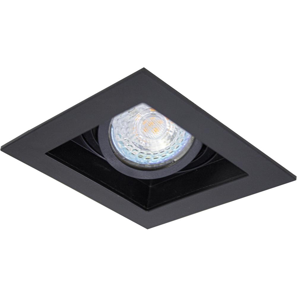 LED inbouw spot - vierkant - zwart - 95x95mm - kantelbaar - dimbaar - modern - GU10 - onderaanzicht