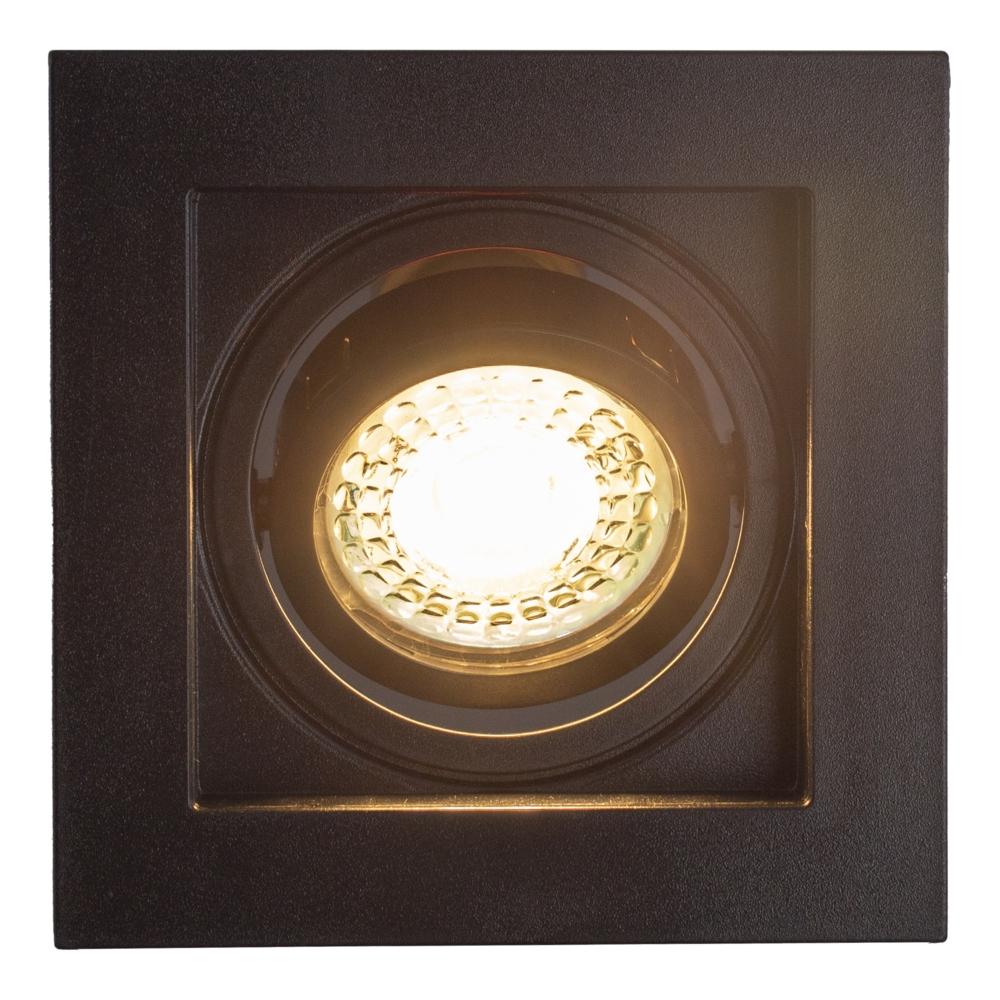 LED inbouw spot - vierkant - zwart - 95x95mm - kantelbaar - dimbaar - modern - GU10 - warm wit - vooraanzicht