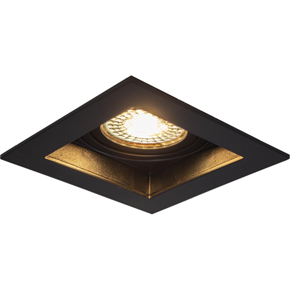 LED inbouw spot - vierkant - zwart - 95x95mm - kantelbaar - dimbaar - modern - GU10 - warm wit - zijaanzicht