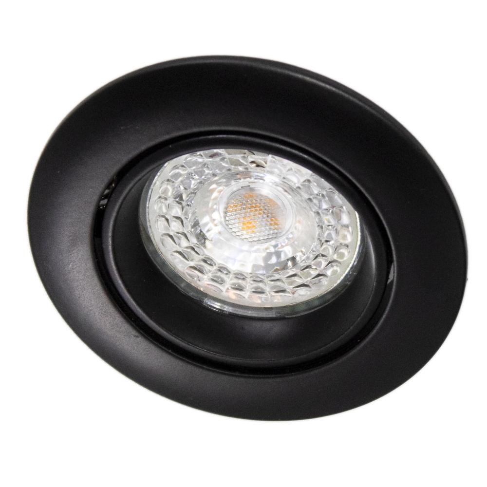 Inbouw spot zwart LED - rond - incl. GU10 fitting en GU10 spot - kantelbaar - 70mm - vooraanzicht