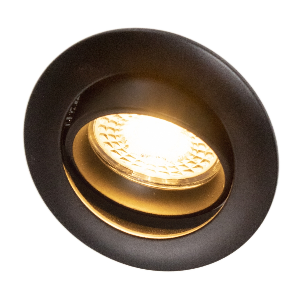 Inbouw spot zwart LED - rond - incl. GU10 fitting en GU10 spot - kantelbaar - 70mm - 2700K warm wit