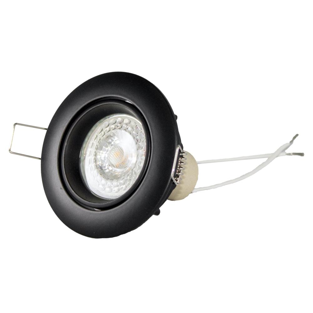 Inbouw spot zwart LED - rond - incl. GU10 fitting en GU10 spot - kantelbaar - 70mm - vooraanzicht liggend