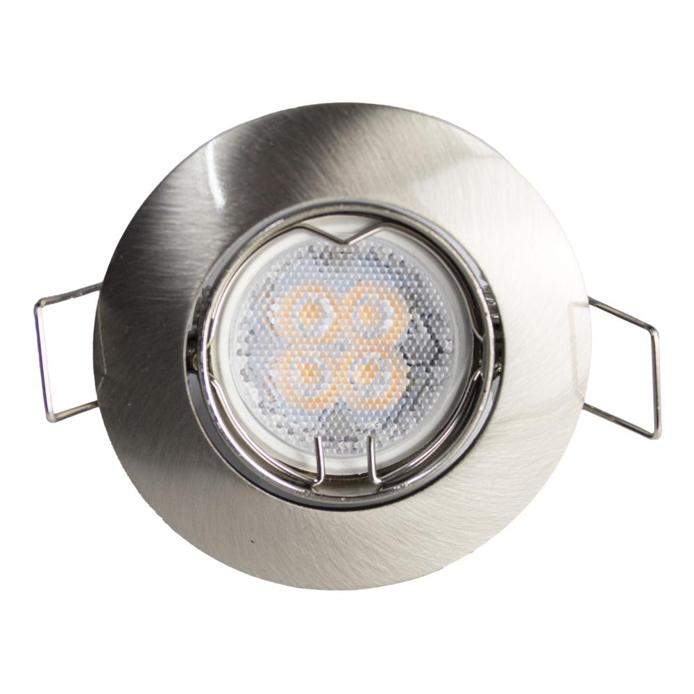 LED inbouwspot 58 mm zilver rvs- voorkant met spot