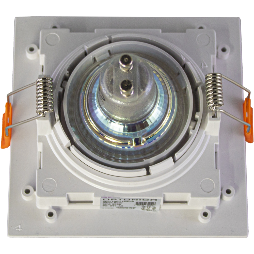 LED inbouwspot - vierkant - wit - 95x95mm - kantelbaar - dimbaar - modern - incl. GU10 spot - achterkant