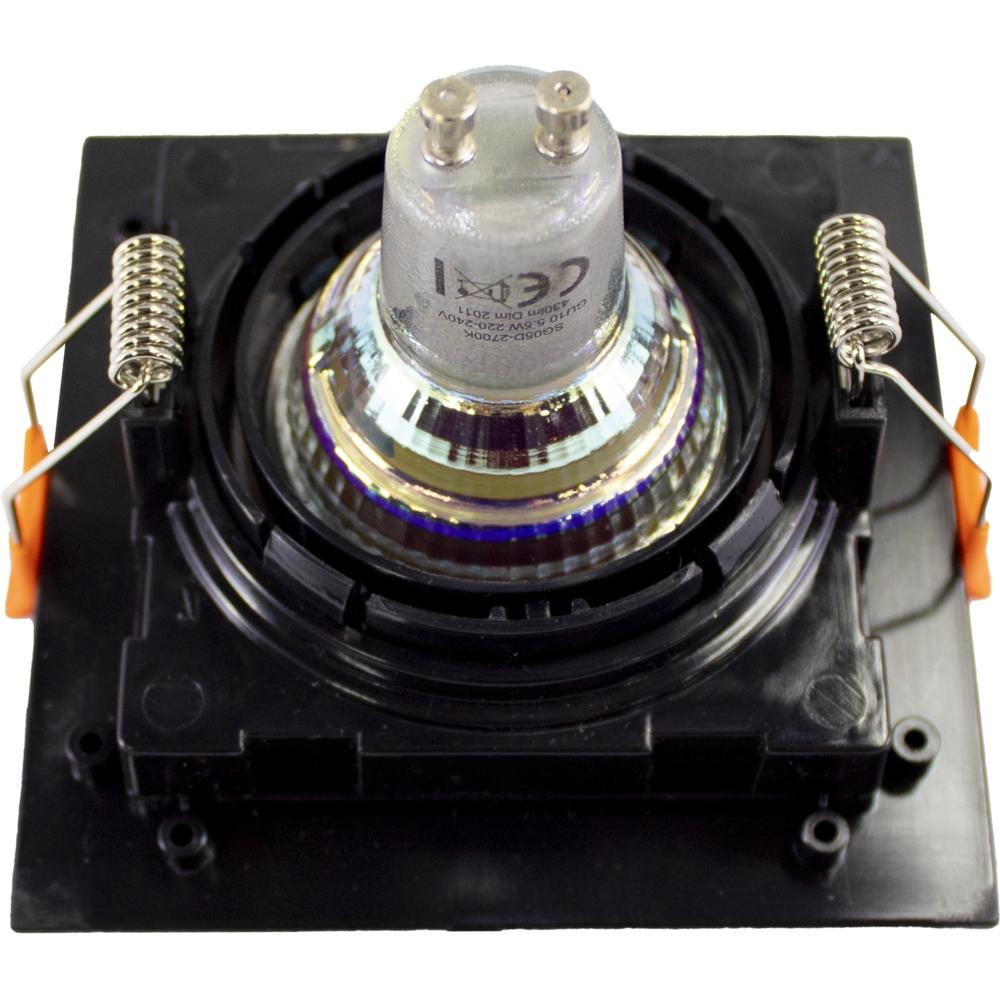 LED inbouwspot - vierkant - zwart - 95x95mm - kantelbaar - dimbaar - modern - incl. GU10 spot - achterkant
