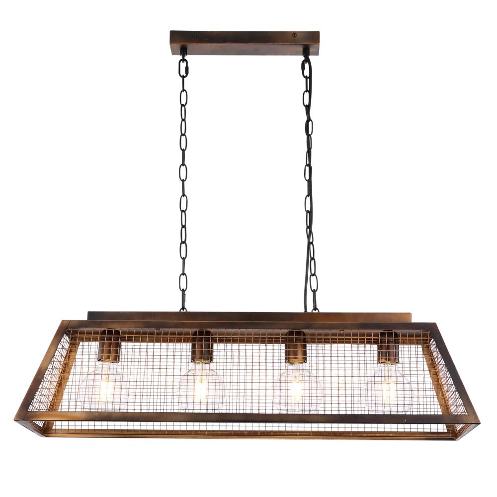 LED hanglamp industrieel 4 x E27 fitting - vooraanzicht lamp aan