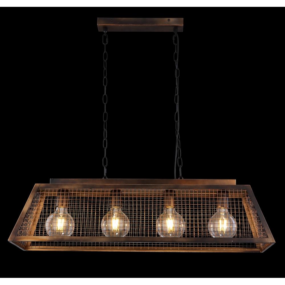 LED hanglamp industrieel 4 x E27 fitting - vooraanzicht donkere achergrond