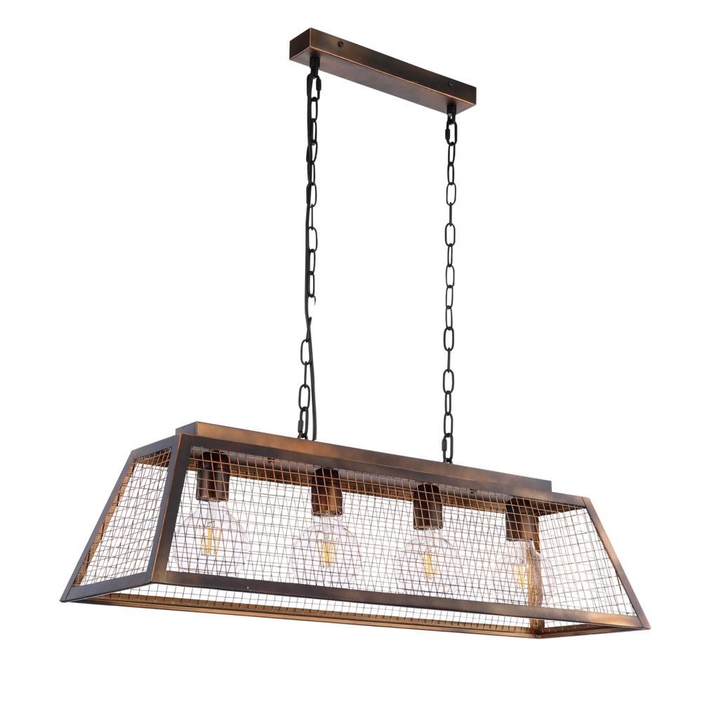 LED hanglamp industrieel 4 x E27 fitting - zijaanzicht lampen uit