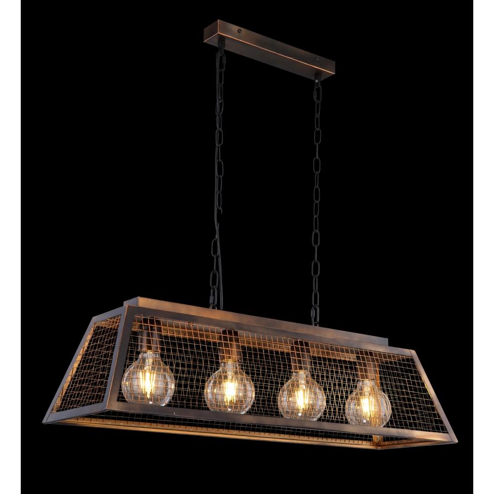 LED hanglamp industrieel 4 x E27 fitting -zijaanzicht donkere achtergrond