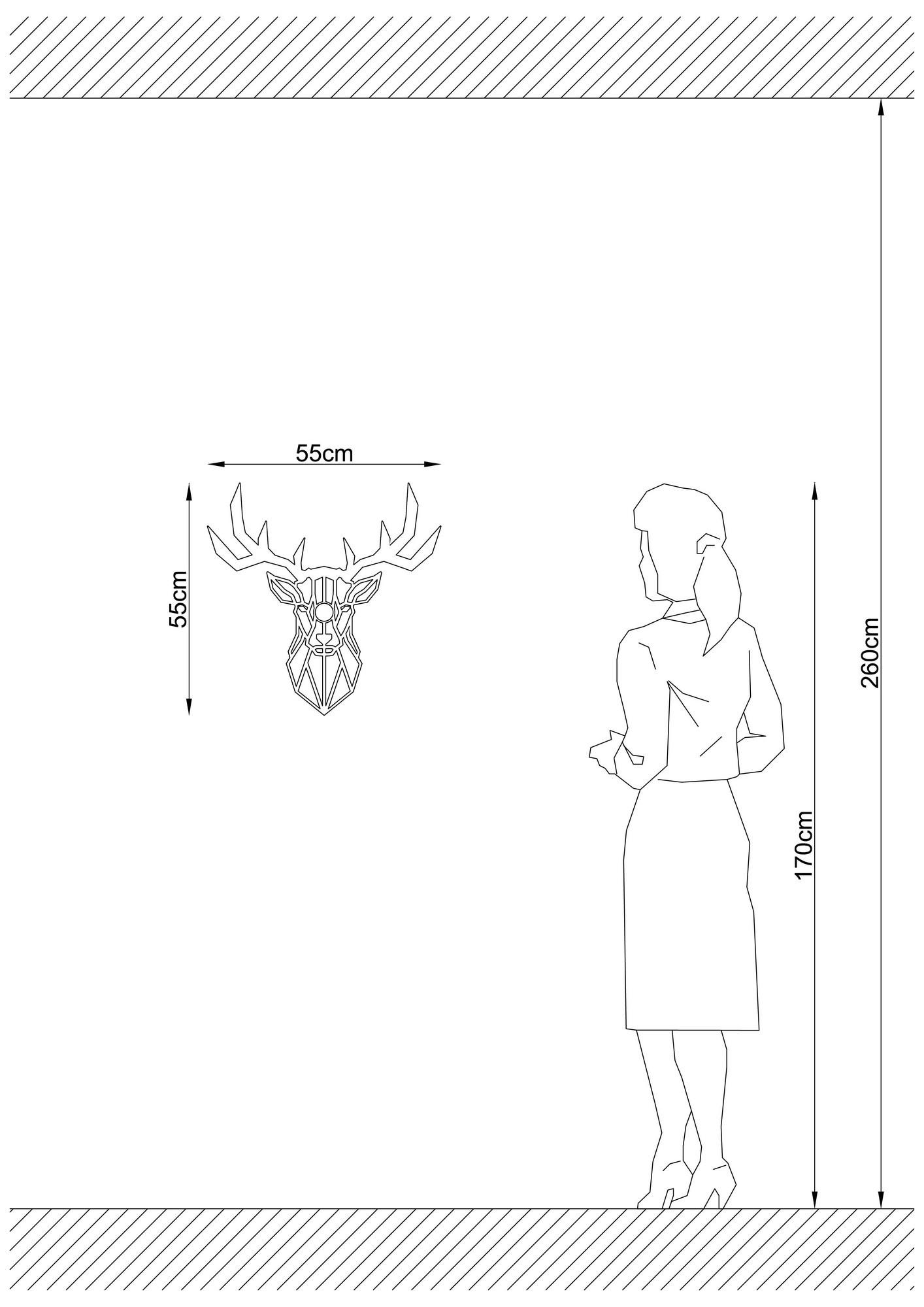 LED industriële wanddeco lamp dieren - Deer - dimbaar - E27 fitting - afmetingen