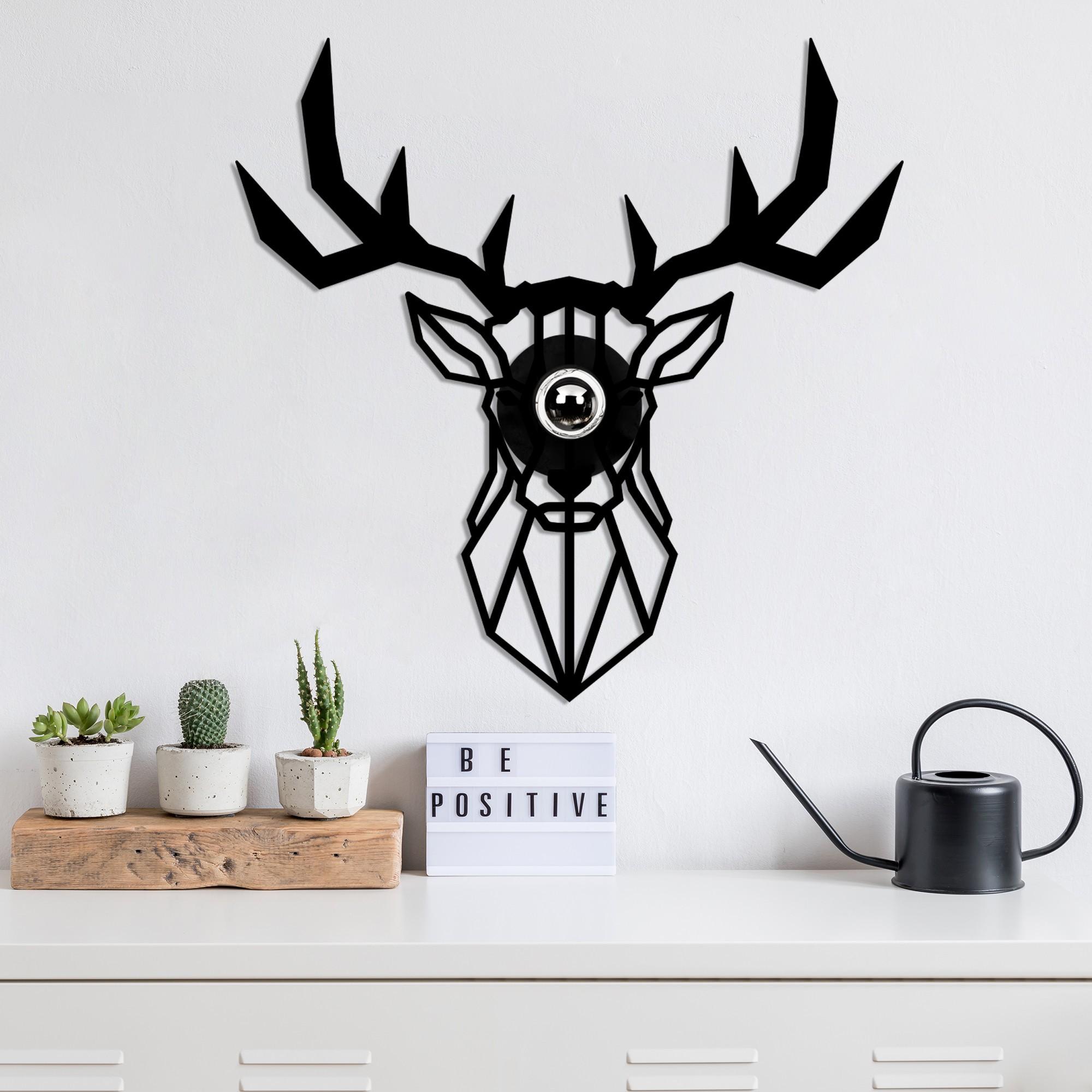 LED industriële wanddeco lamp dieren - Deer - dimbaar - E27 fitting - sfeerfoto