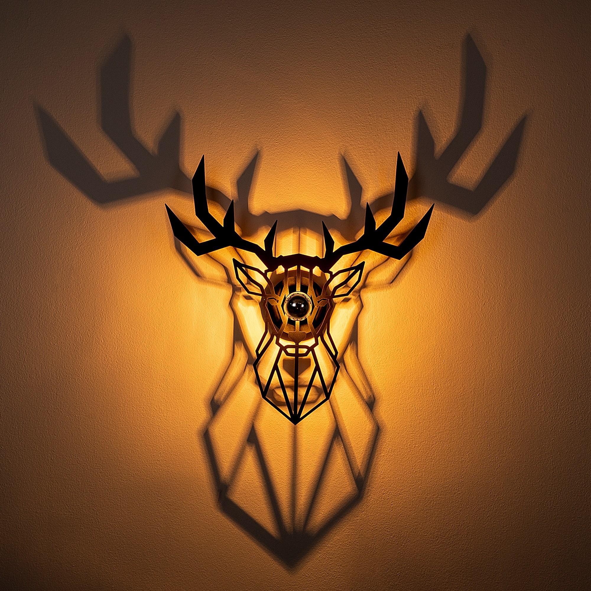 LED industriële wanddeco lamp dieren - Deer - dimbaar - E27 fitting - sfeerfoto incl. lamp