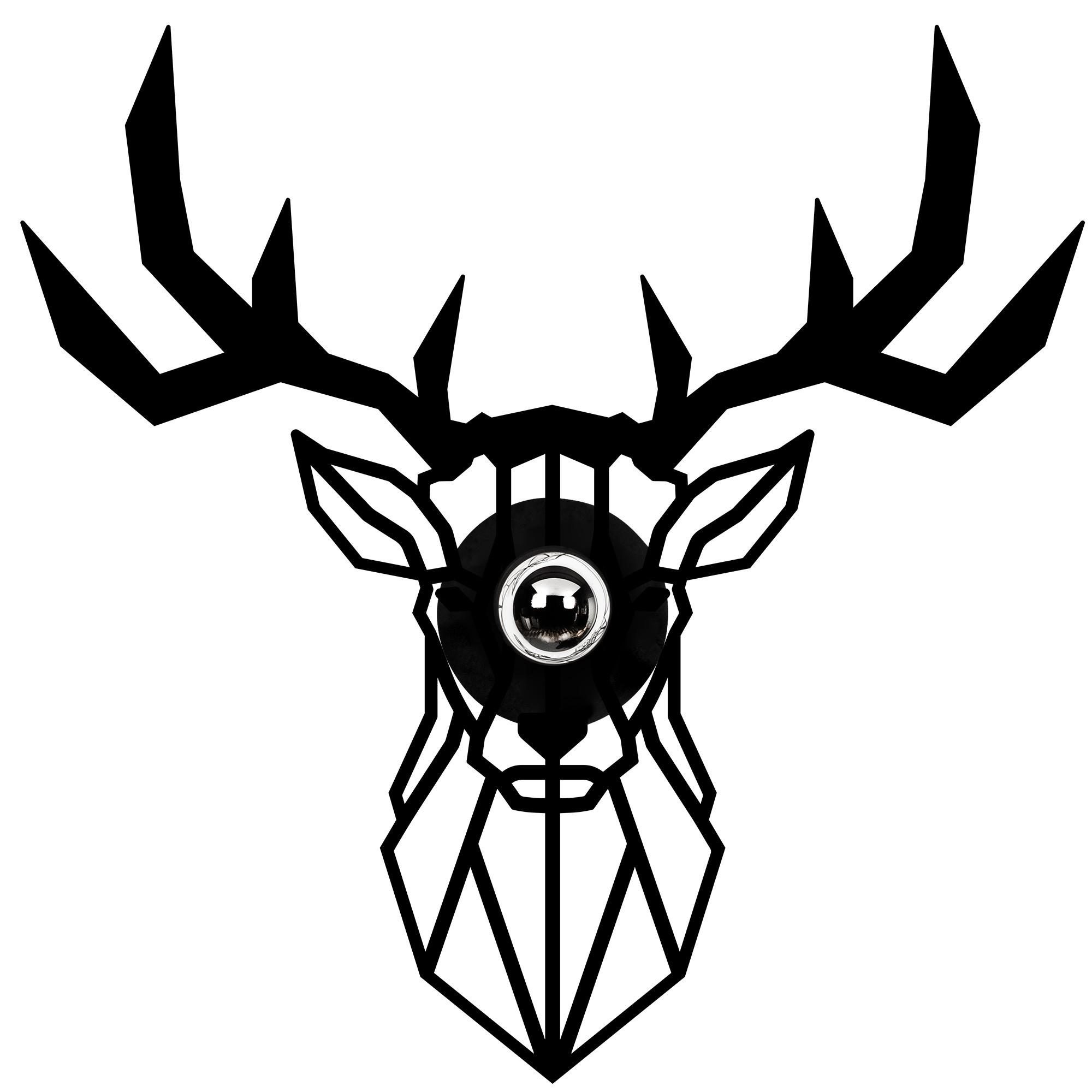 LED industriële wanddeco lamp dieren - Deer - dimbaar - E27 fitting - vooraanzicht