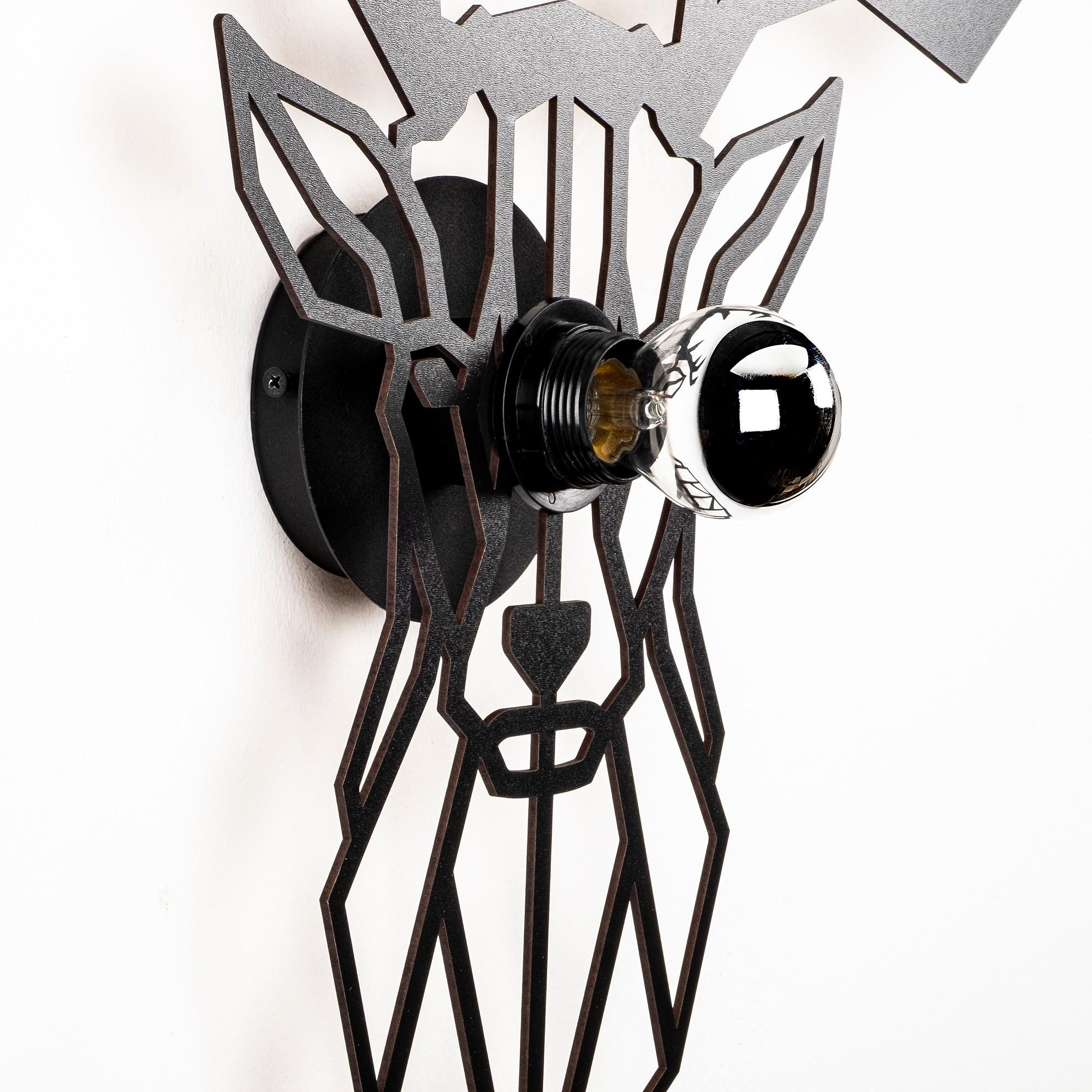 LED industriële wanddeco lamp dieren - Deer - dimbaar - E27 fitting - zijaanzicht