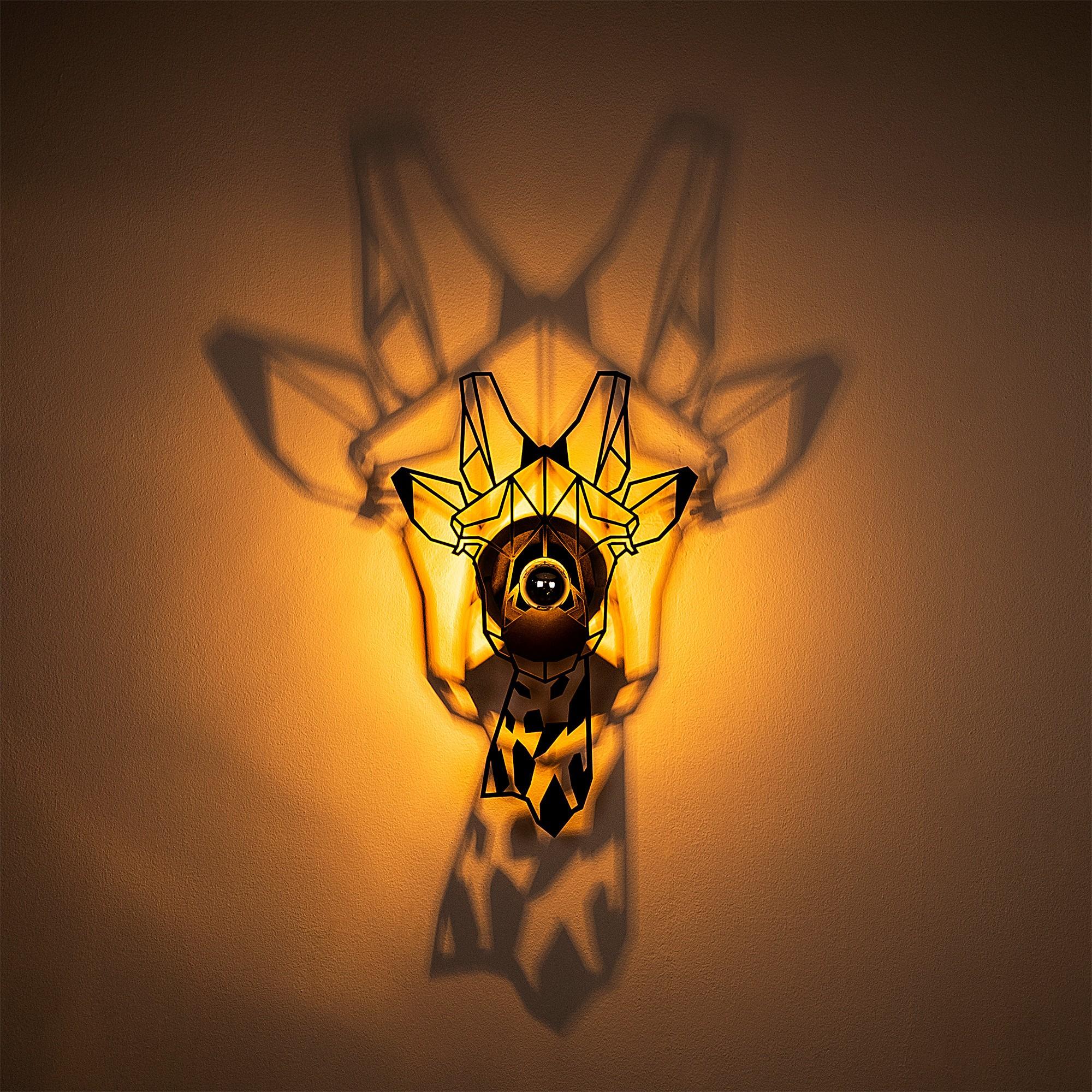 LED industriële wanddeco lamp dieren - Giraf - dimbaar - E27 fitting - Sfeerfoto incl. lamp warm wit