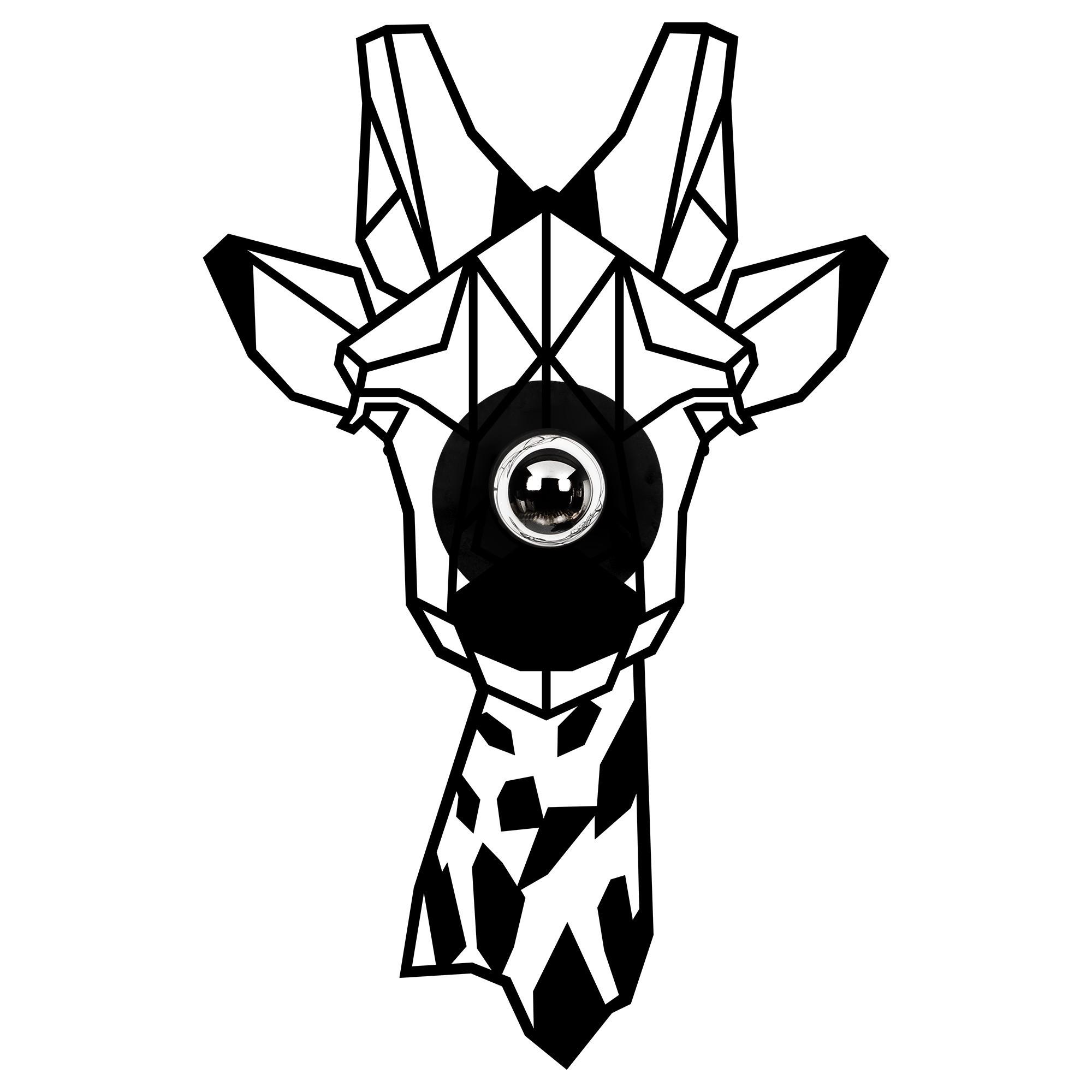 LED industriële wanddeco lamp dieren - Giraf - dimbaar - E27 fitting - vooraanzicht