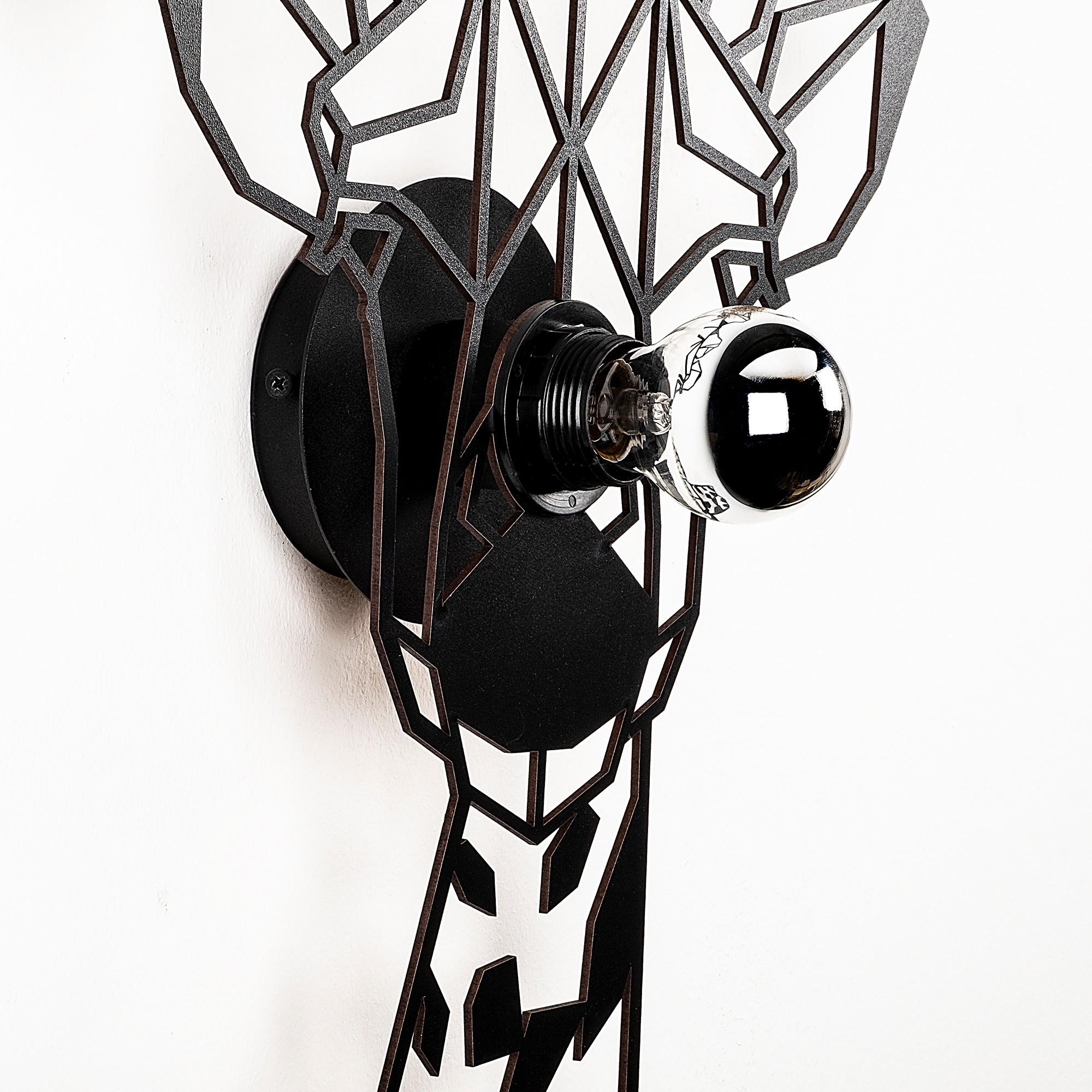 LED industriële wanddeco lamp dieren - Giraf - dimbaar - E27 fitting - zijnaanzicht