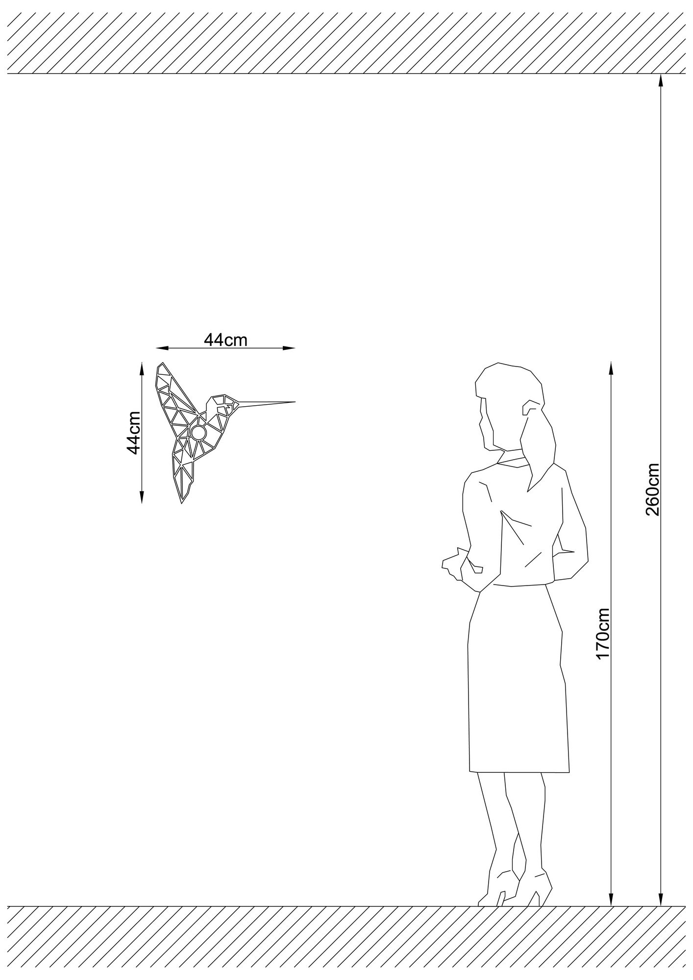 LED industriële wanddeco lamp dieren - Kolibrie - vogel - dimbaar - E27 fitting - afmetingen
