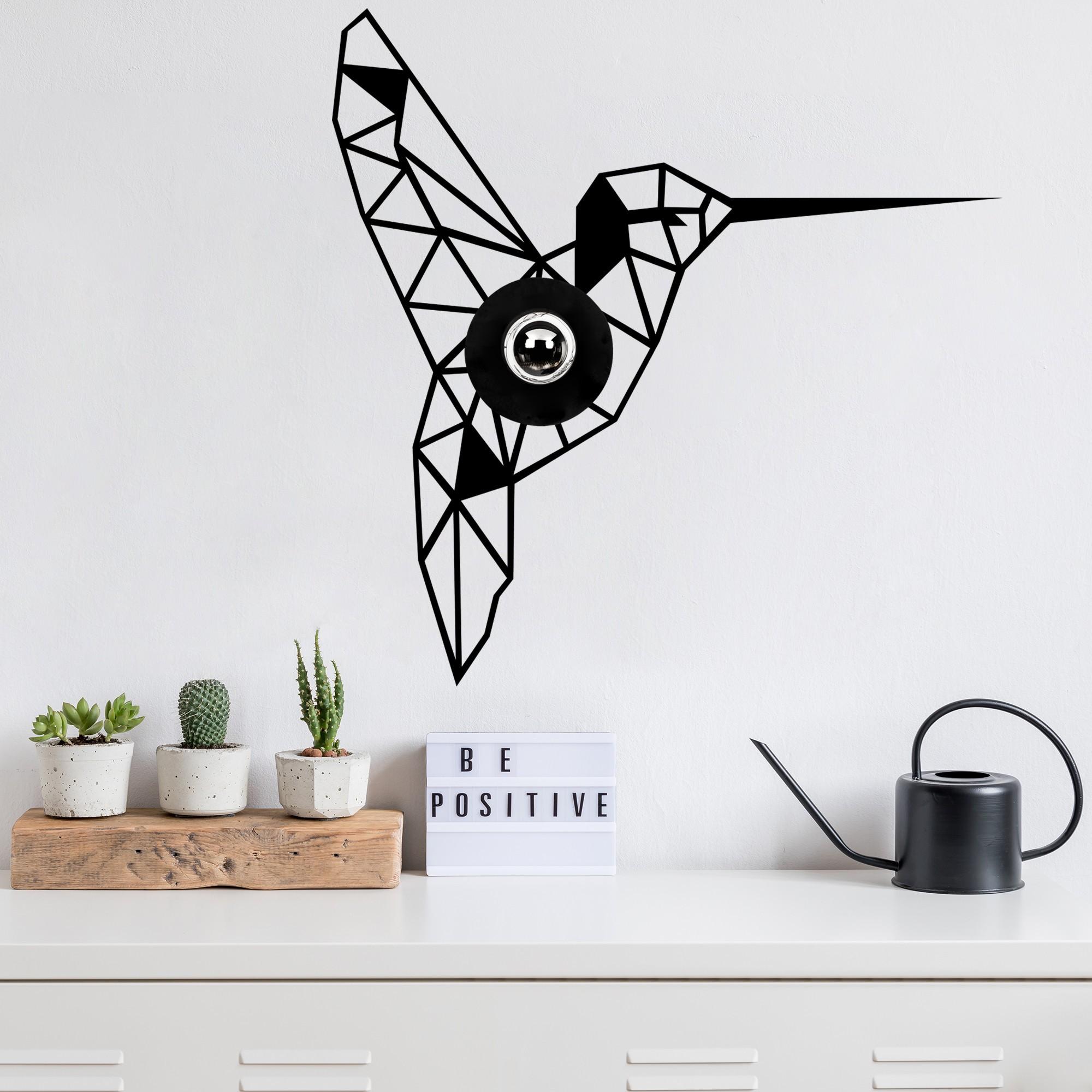 LED industriële wanddeco lamp dieren - Kolibrie - vogel - dimbaar - E27 fitting - sfeerfoto
