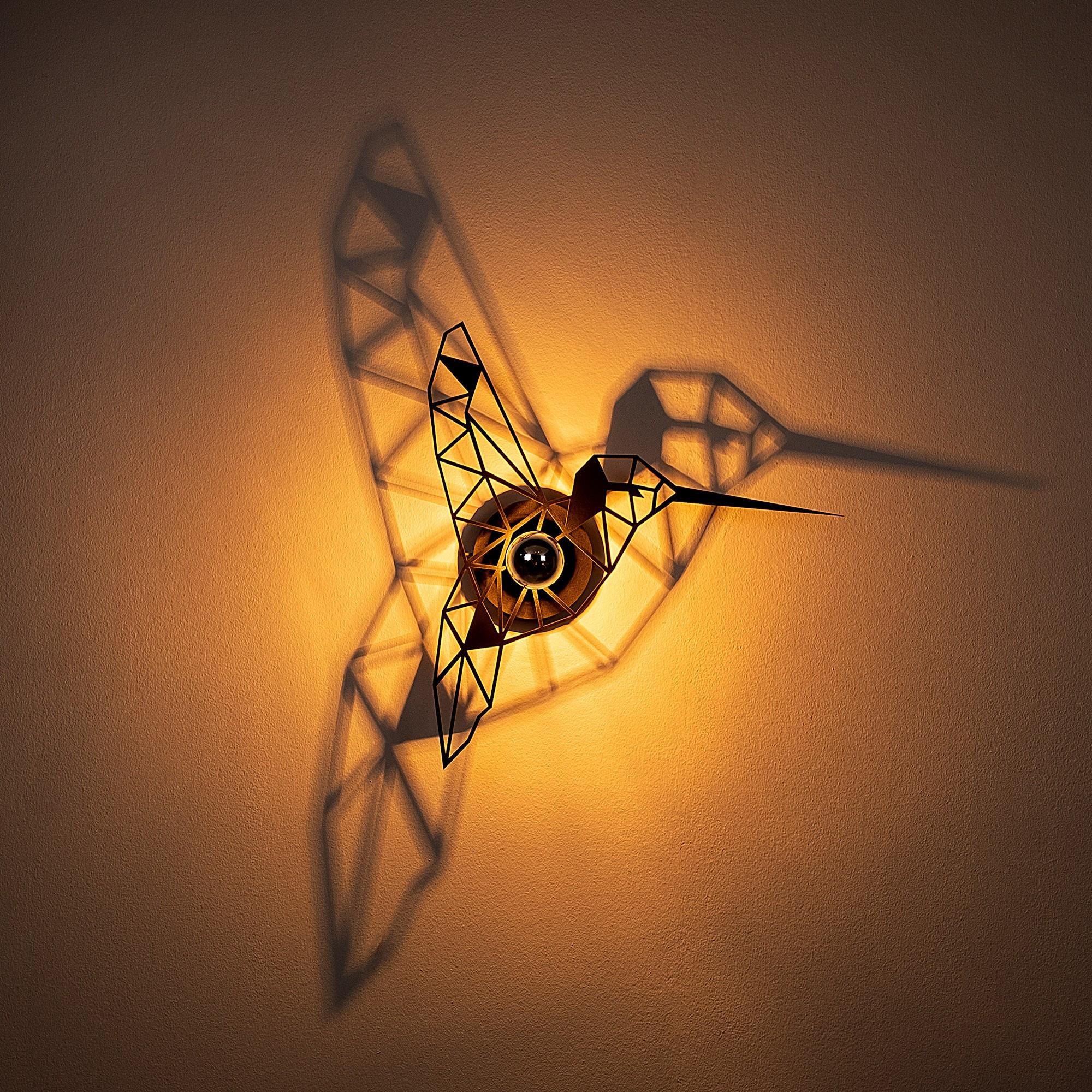 LED industriële wanddeco lamp dieren - Kolibrie - vogel - dimbaar - E27 fitting - sfeerfoto lamp aan