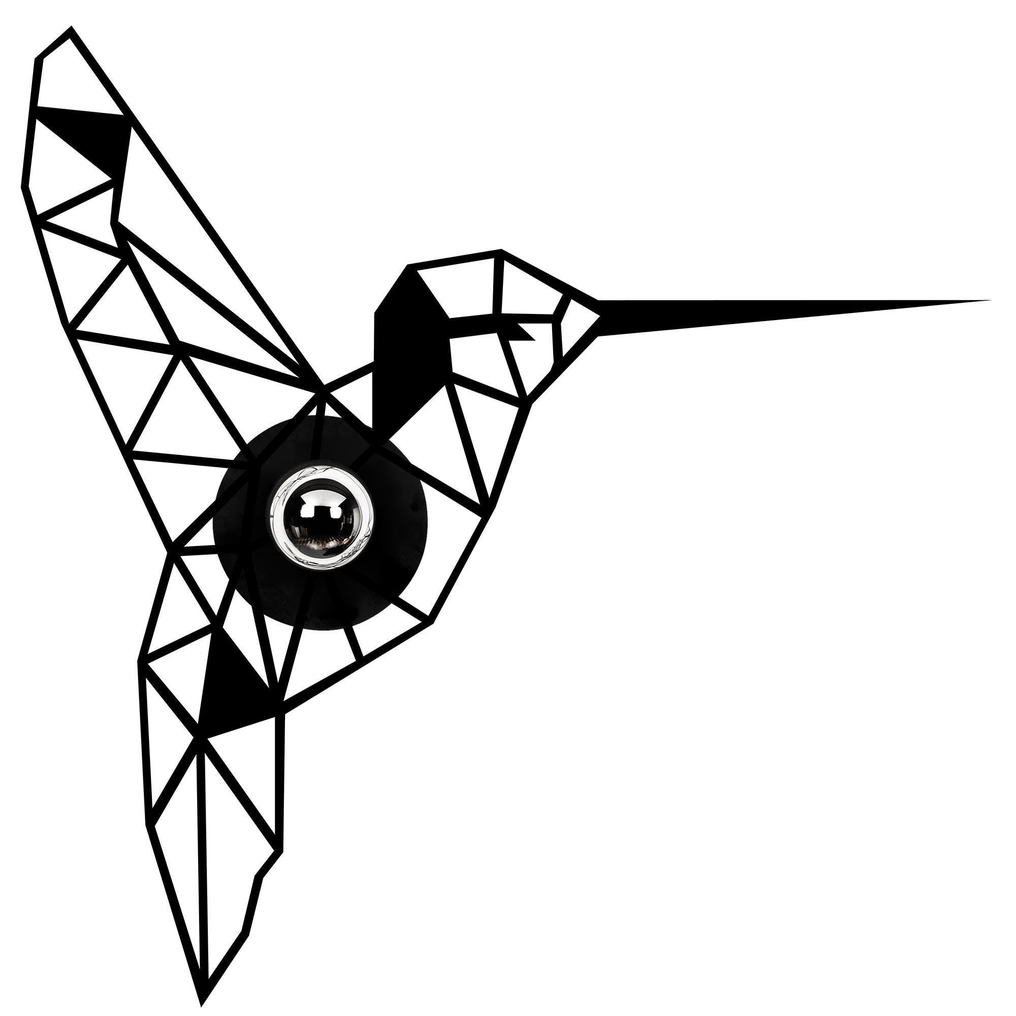 LED industriële wanddeco lamp dieren - Kolibrie - vogel - dimbaar - E27 fitting - vooraanzicht