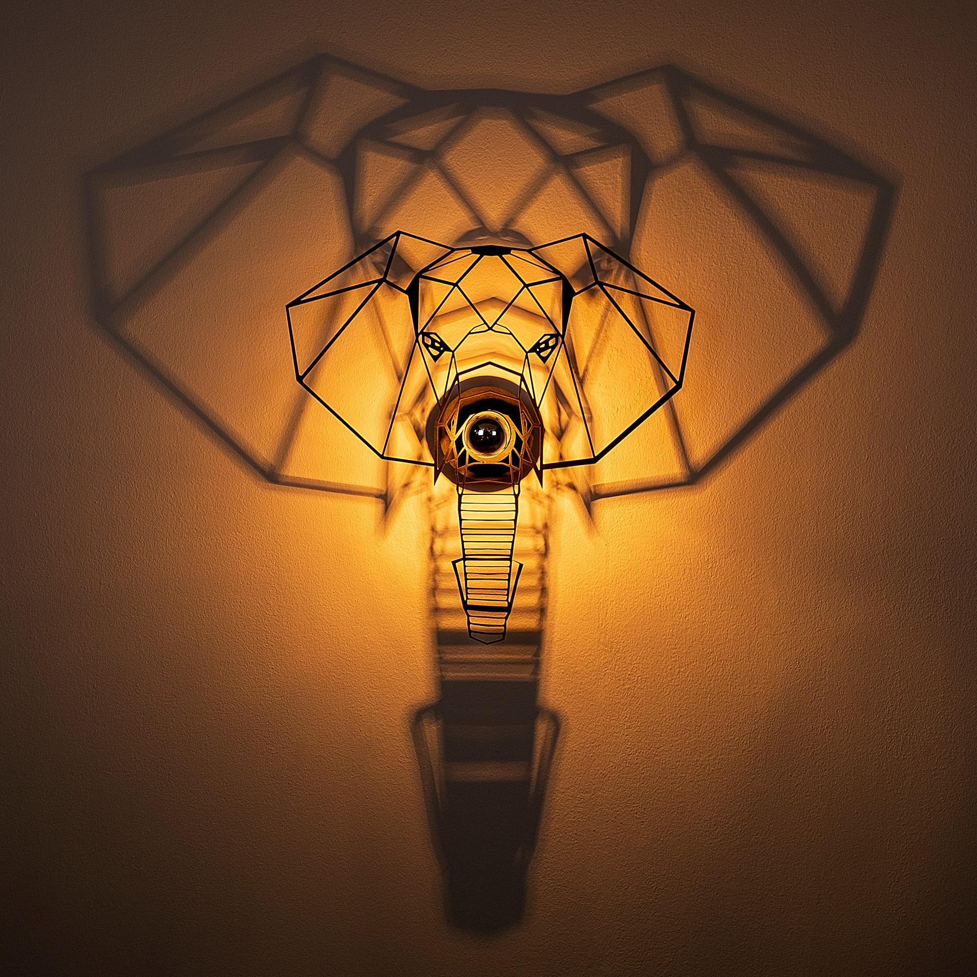 LED industriële wanddeco lamp dieren - Olifant - dimbaar - E27 fitting - Incl lamp aan