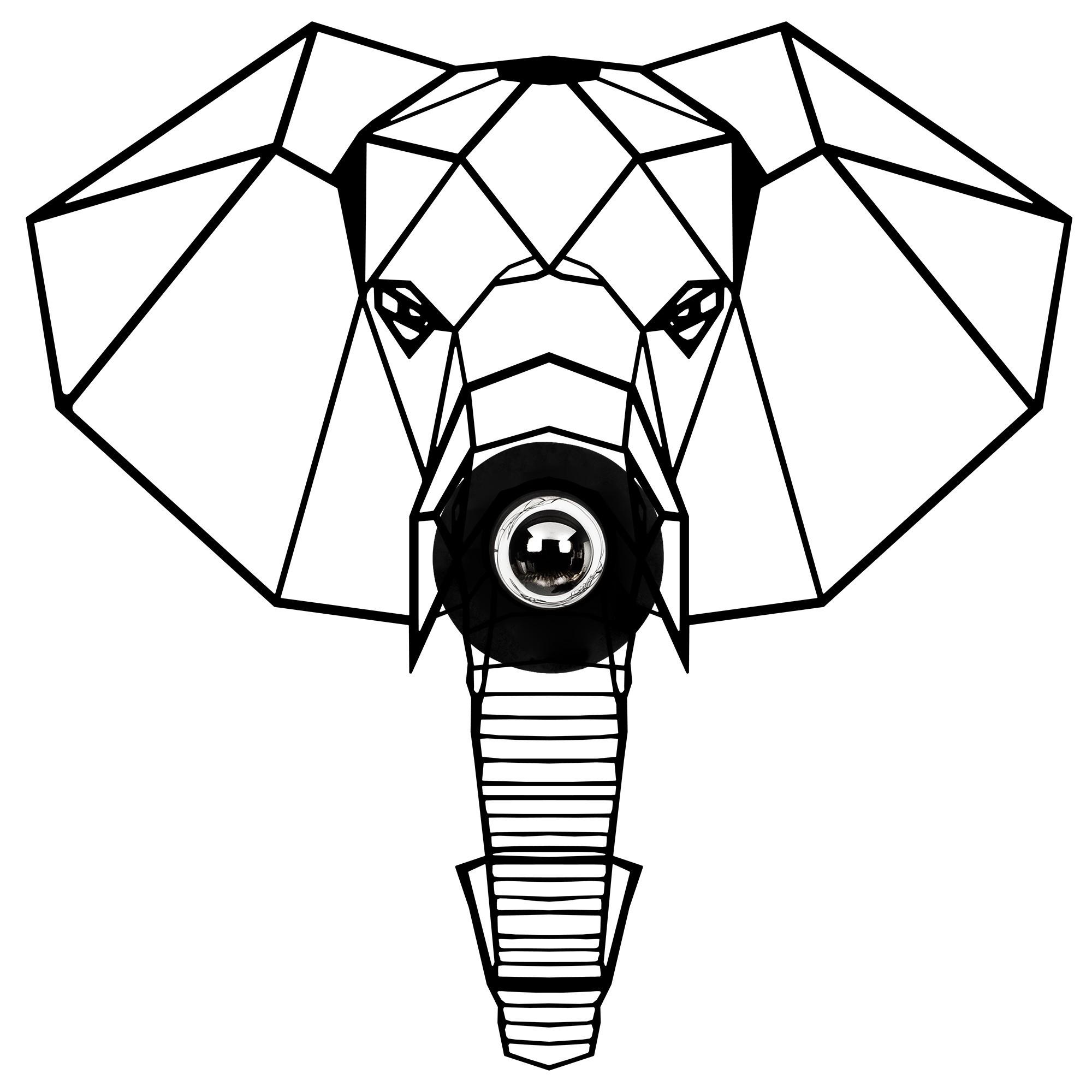 LED industriële wanddeco lamp dieren - Olifant - dimbaar - E27 fitting - vooraanzicht