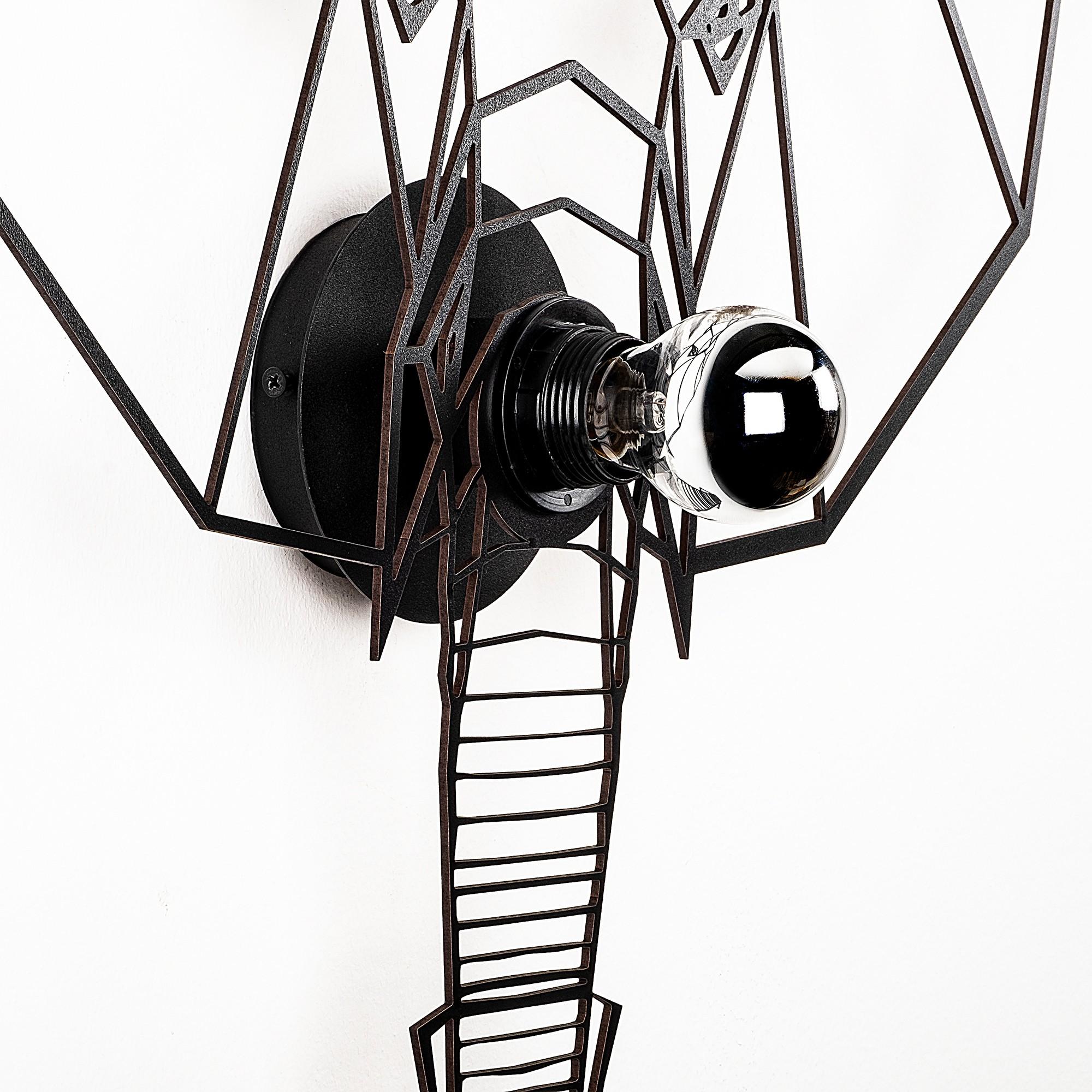 LED industriële wanddeco lamp dieren - Olifant - dimbaar - E27 fitting - zijaanzicht
