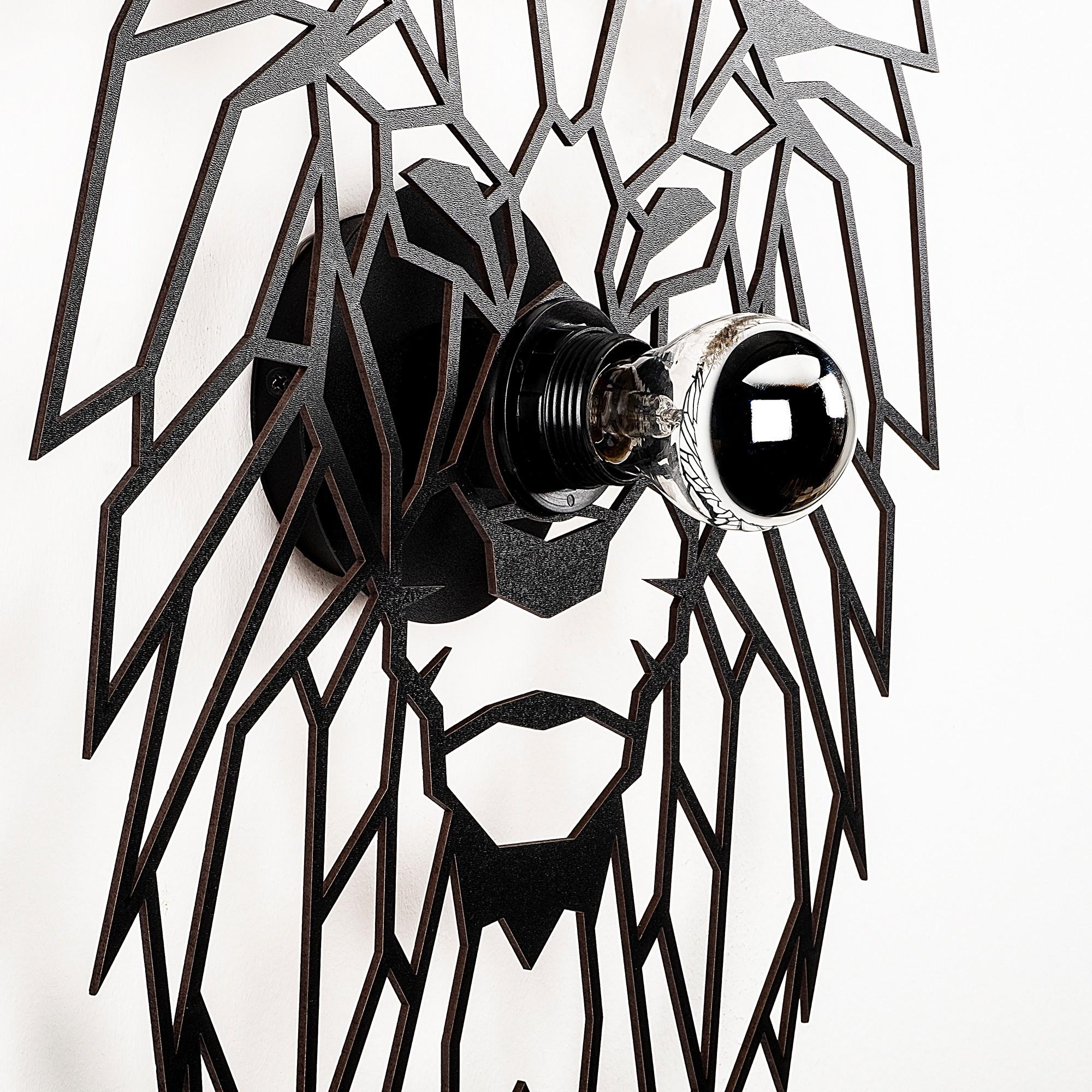 LED industriële wanddeco lamp dieren - Tijger - dimbaar - E27 fitting - zijaanzicht