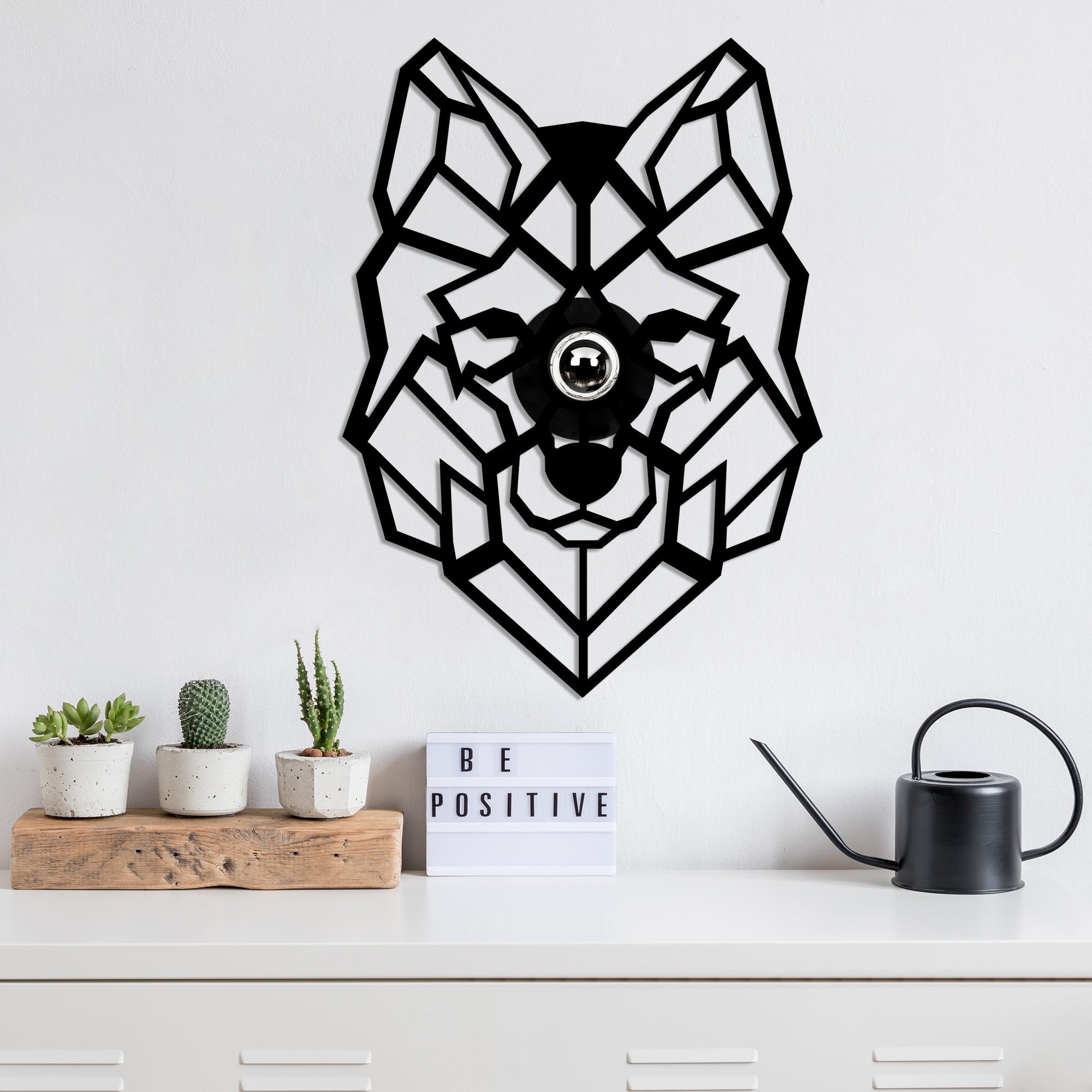 LED industriële wanddeco lamp dieren - Wolf - dimbaar - E27 fitting - sfeerfoto