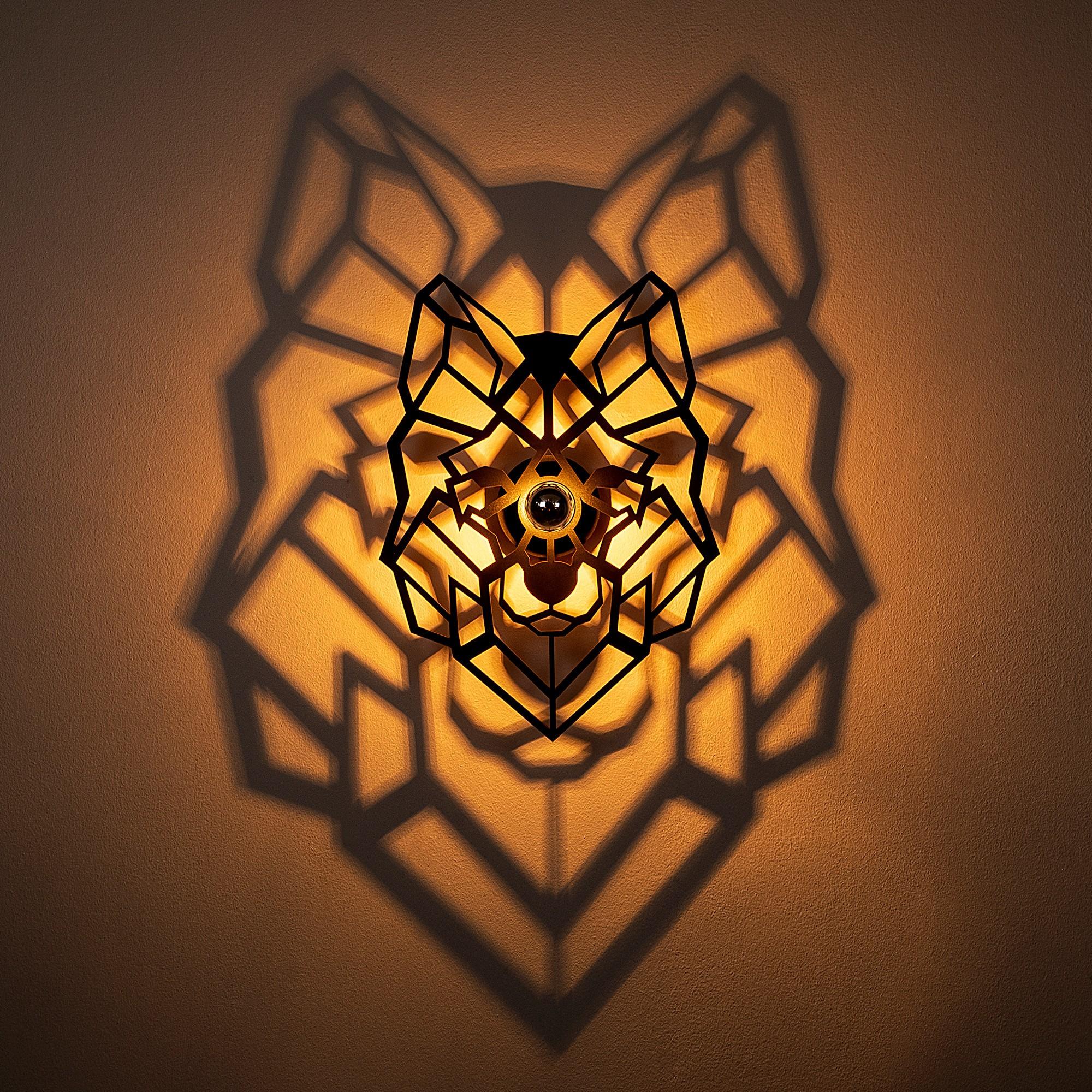 LED industriële wanddeco lamp dieren - Wolf - dimbaar - E27 fitting - sfeerfoto met lamp aan