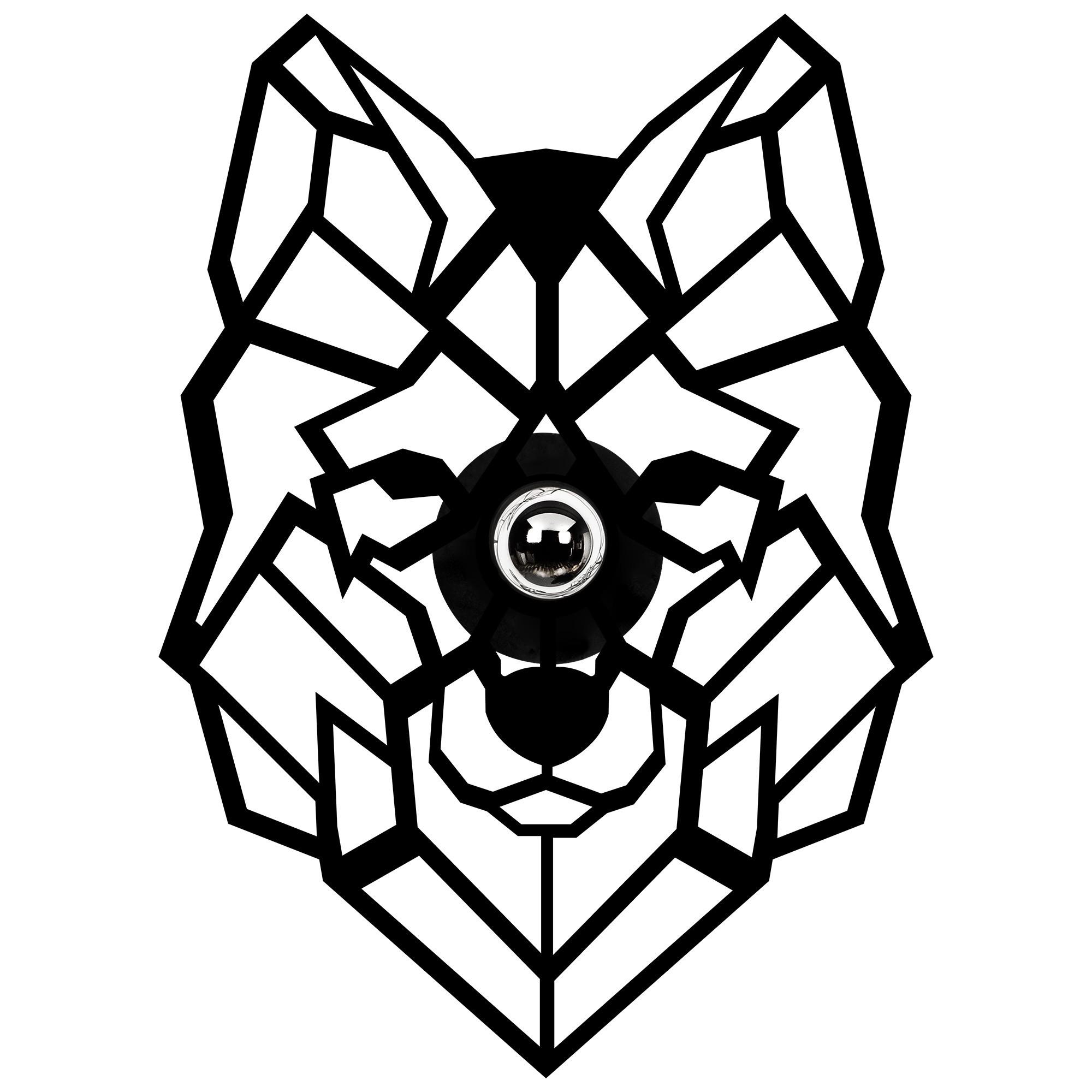 LED industriële wanddeco lamp dieren - Wolf - dimbaar - E27 fitting - vooraanzicht