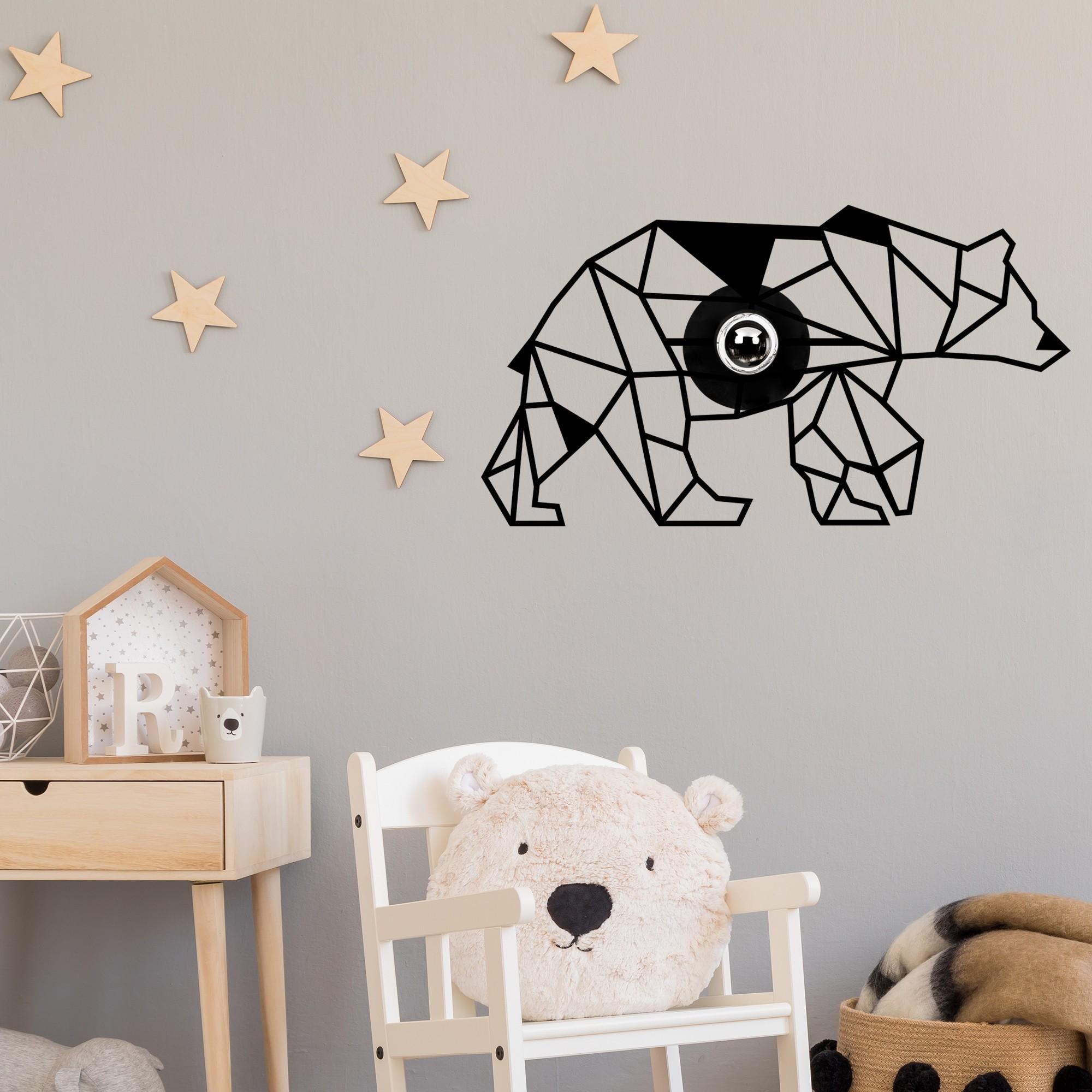 LED industriële wanddeco lamp dieren - bear - dimbaar - E27 fitting - sfeerfoto