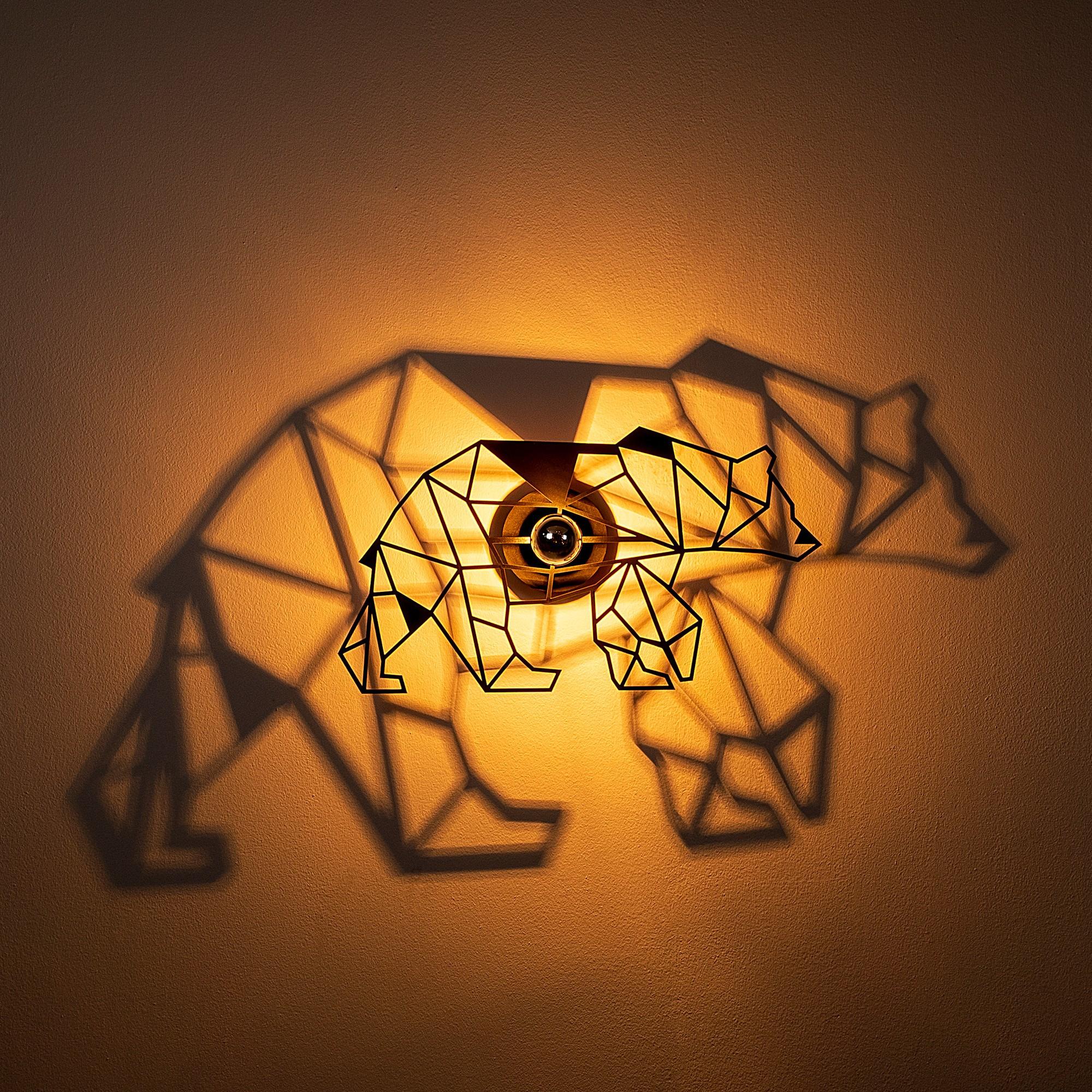 LED industriële wanddeco lamp dieren - bear - dimbaar - E27 fitting - sfeerfoto incl. lamp