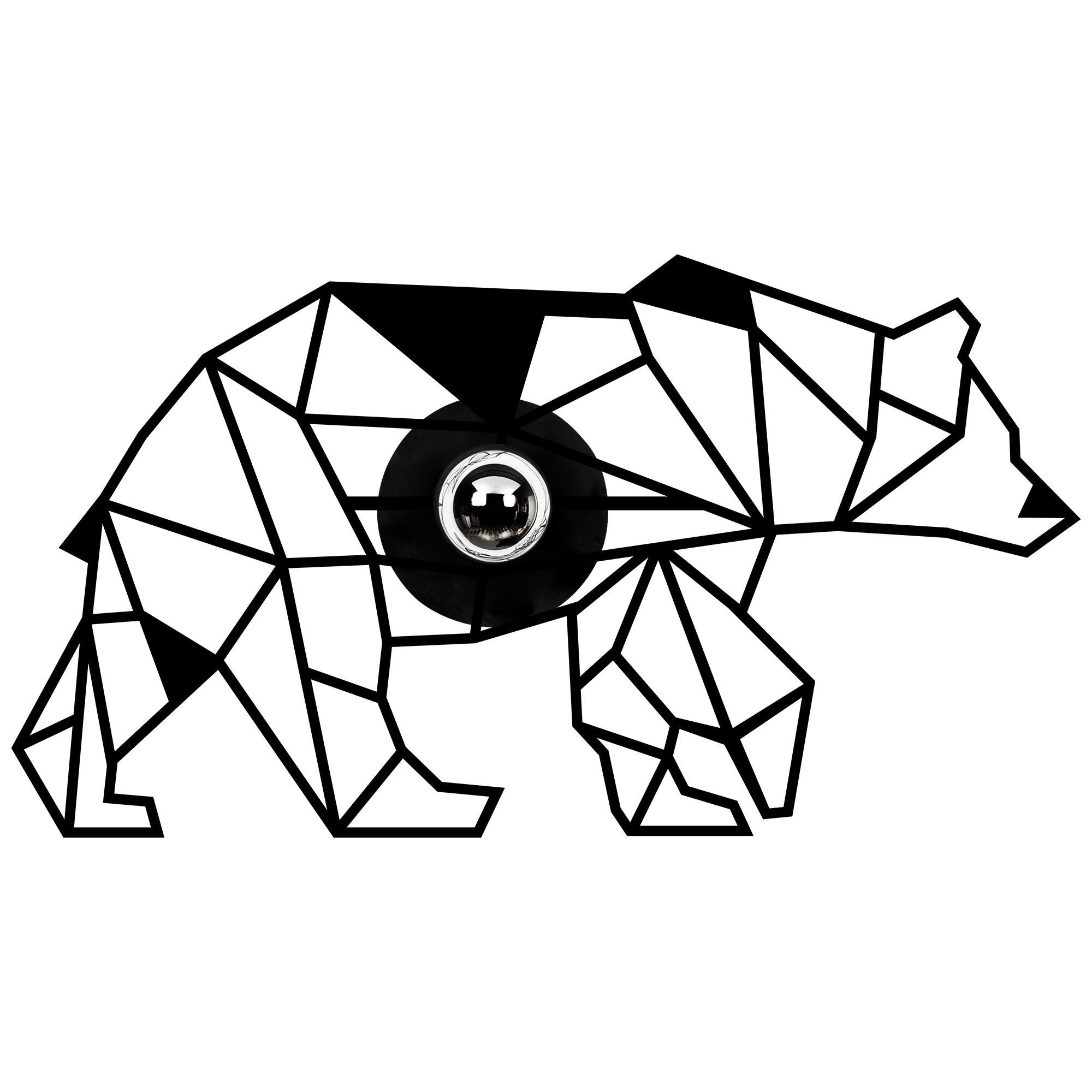 LED industriële wanddeco lamp dieren - bear - dimbaar - E27 fitting - vooraanzicht