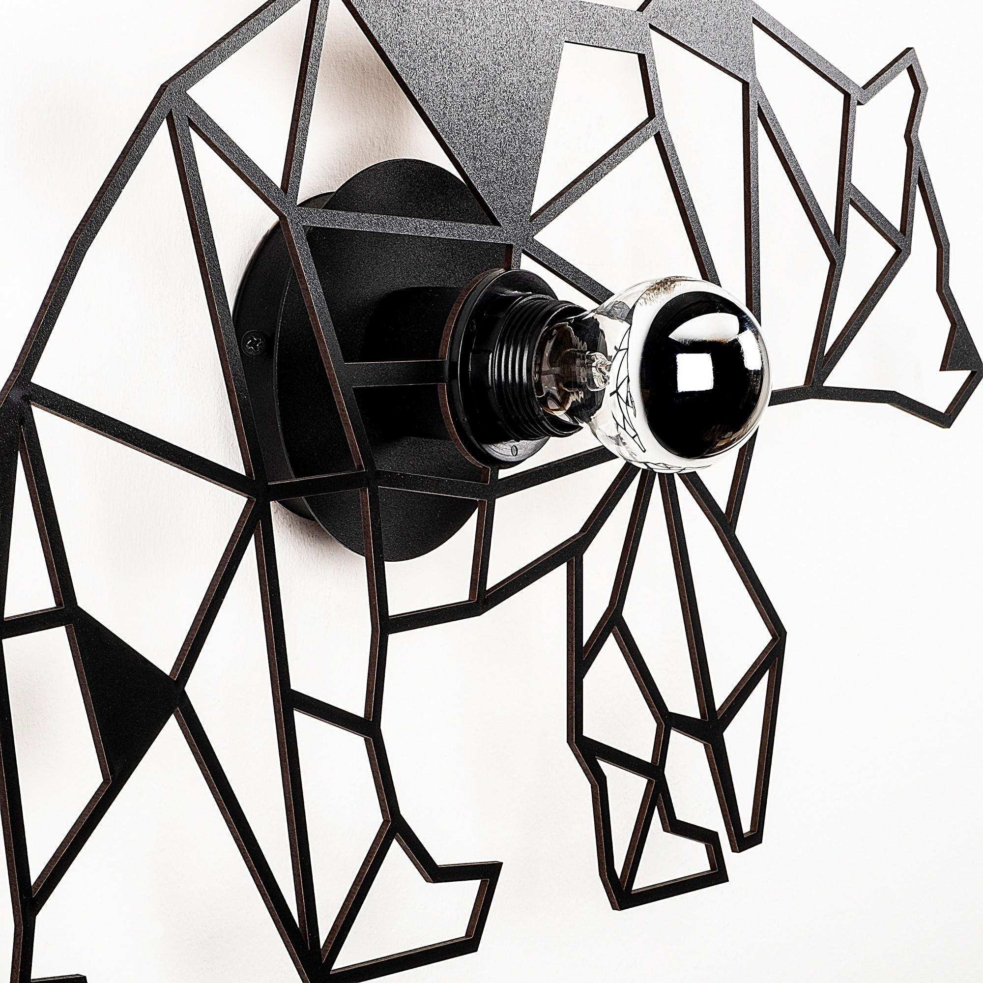 LED industriële wanddeco lamp dieren - bear - dimbaar - E27 fitting - zijaanzicht