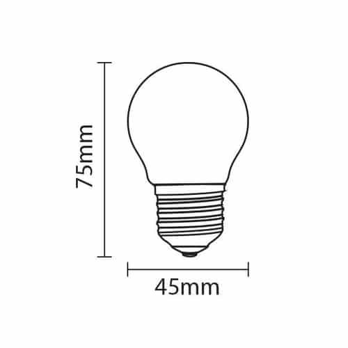 LED Lamp E27 grote fitting 4 watt G45 4500K Naturel wit - afmetingen