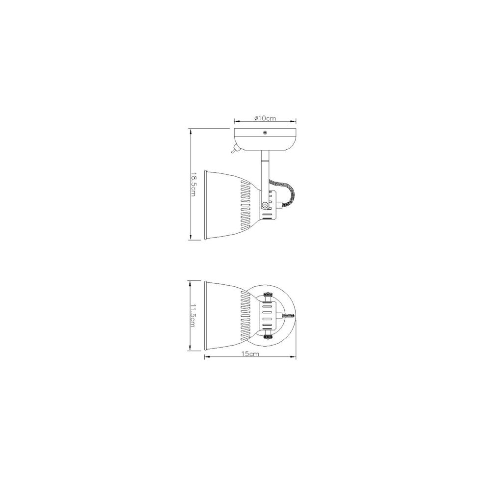 LED moderne wandlamp E14 fitting zilver grijs - afmetingen