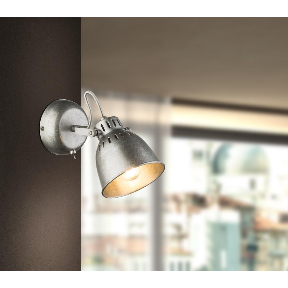 LED moderne wandlamp E14 fitting zilver grijs - sfeerfoto