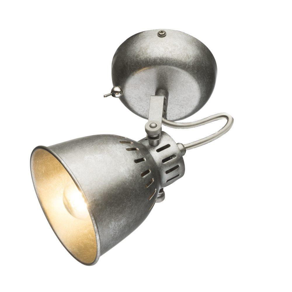 LED moderne wandlamp E14 fitting zilver grijs - vooraanzicht lamp aan