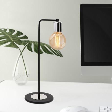 Moderne tafellamp zwart me aluminium E27 - sfeerfoto